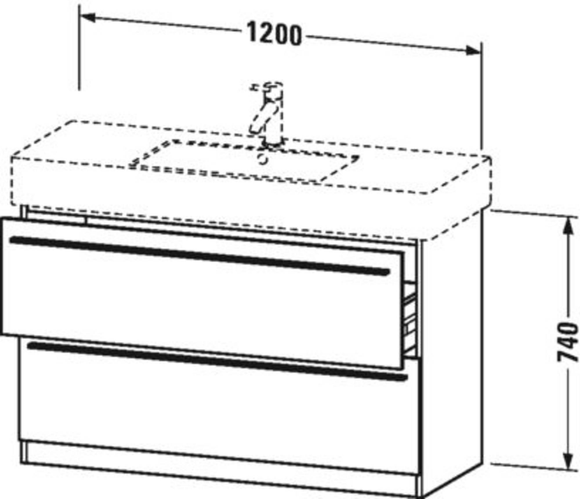 Duravit X-Large wastafelonderkast 2 laden voor Vero 120x47x74 cm Grafiet mat