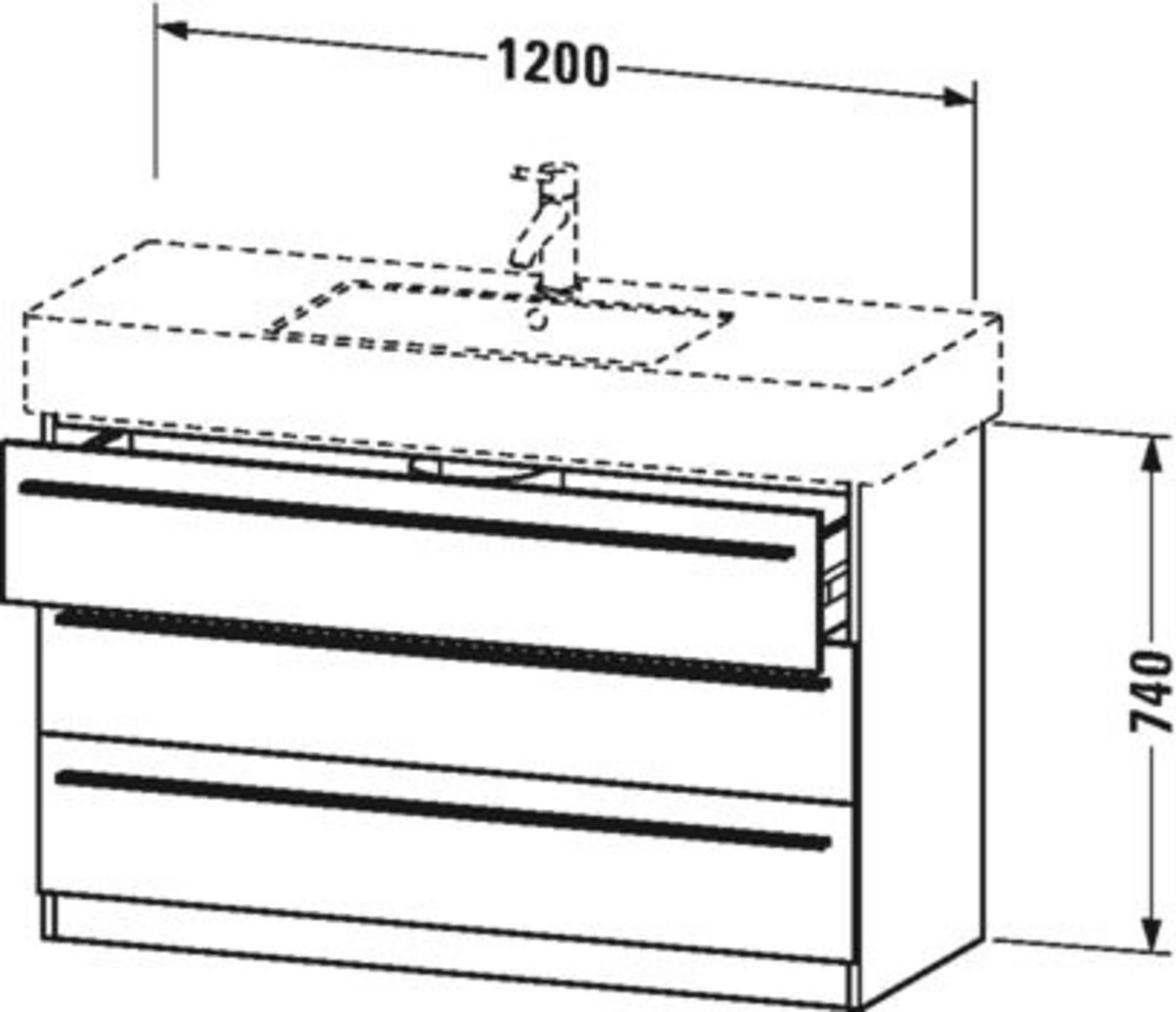 Duravit X-Large wastafelonderkast 3 laden voor Vero 120x47x74 cm Flanel grijs zijdemat