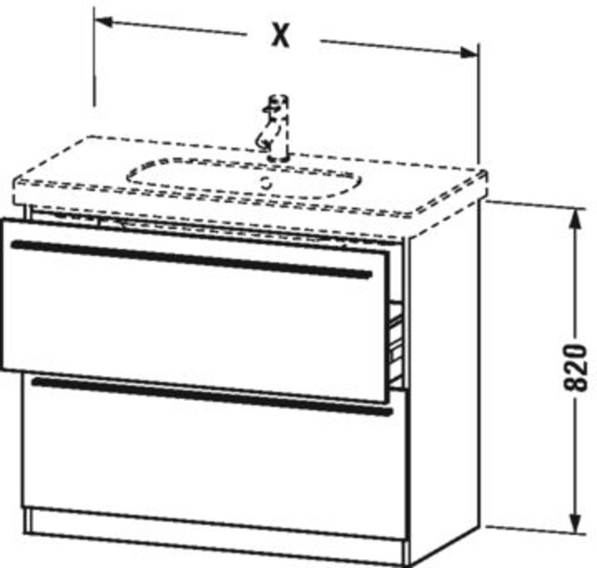 Duravit X-Large wastafelonderkast 2 laden voor D-Code 80x47x82 cm Amerikaans kersen