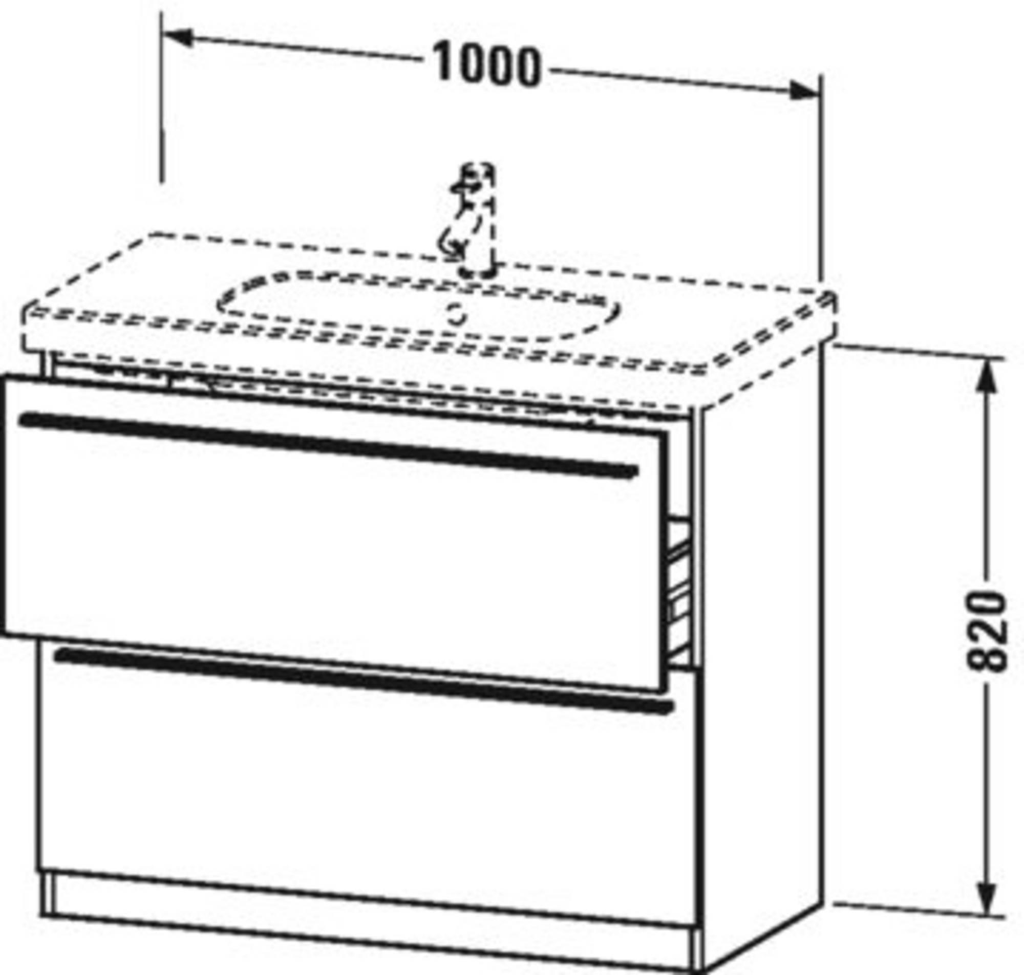 Duravit X-Large wastafelonderkast 2 laden voor D-Code 100x47x82 cm Flanel grijs zijdemat