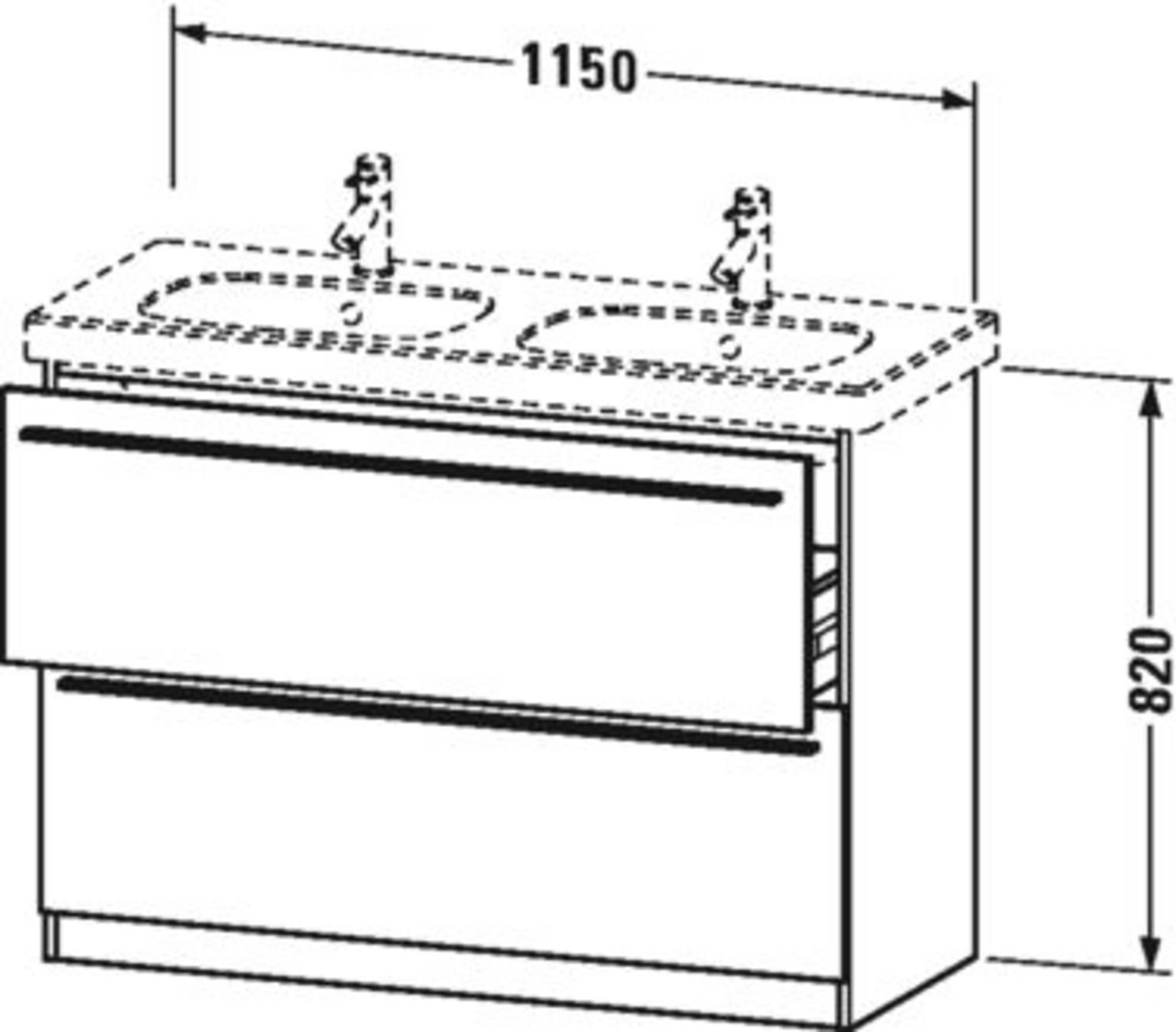 Duravit X-Large wastafelonderkast 2 laden voor D-Code 115x47x82 cm Dolomiti grijs hoogglans