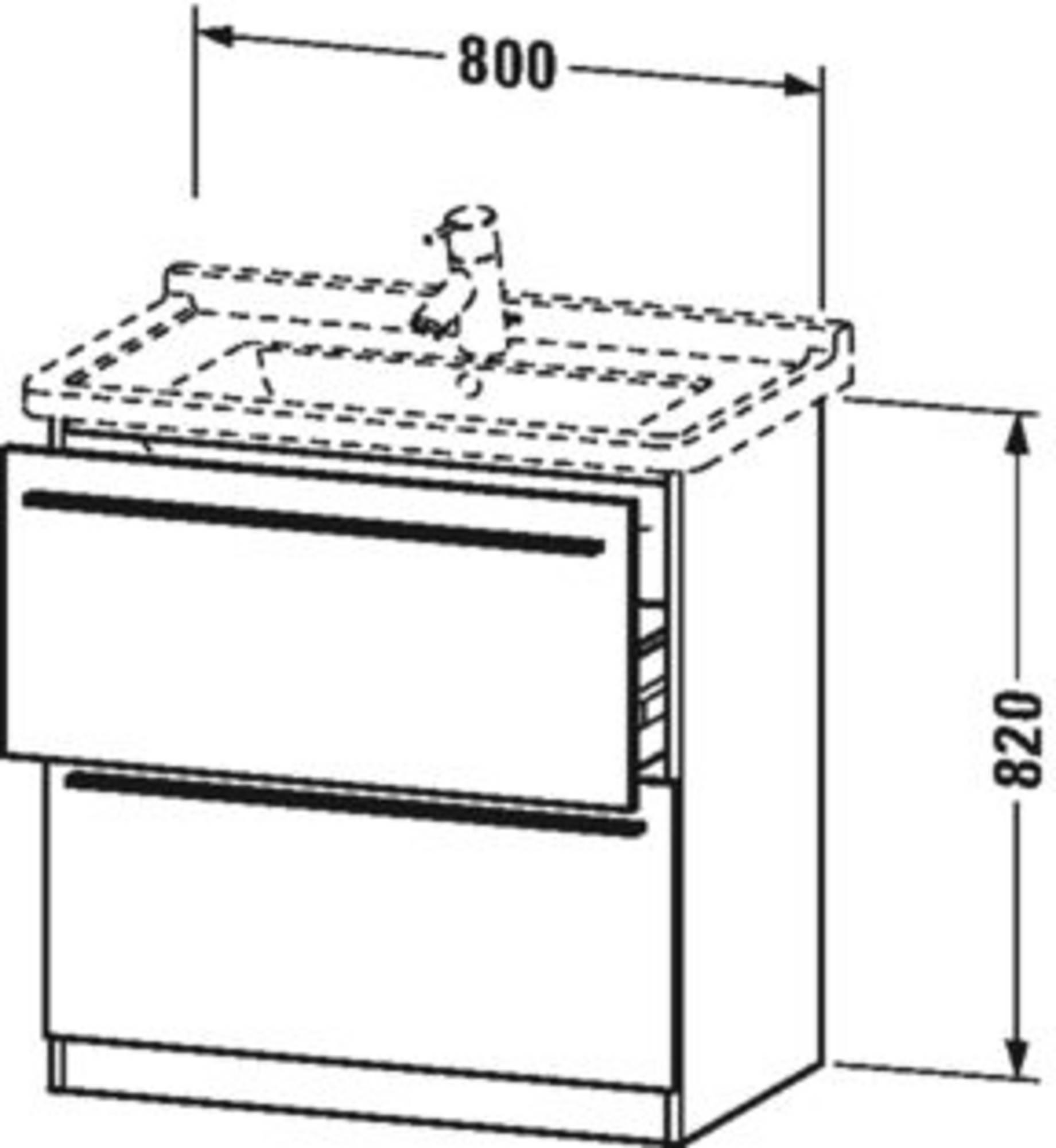 Duravit X-Large wastafelonderkast 2 laden voor Starck 3 80x47x82 cm Apricot pearl hoogglans