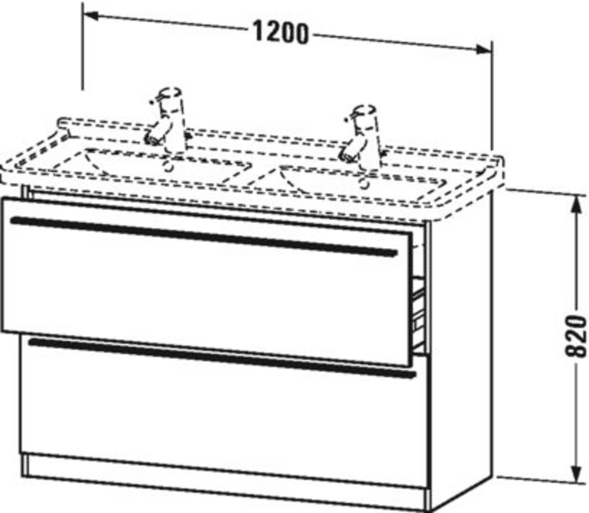 Duravit X-Large wastafelonderkast 2 laden voor Starck 3 120x47x82 cm Mediterrane eiken