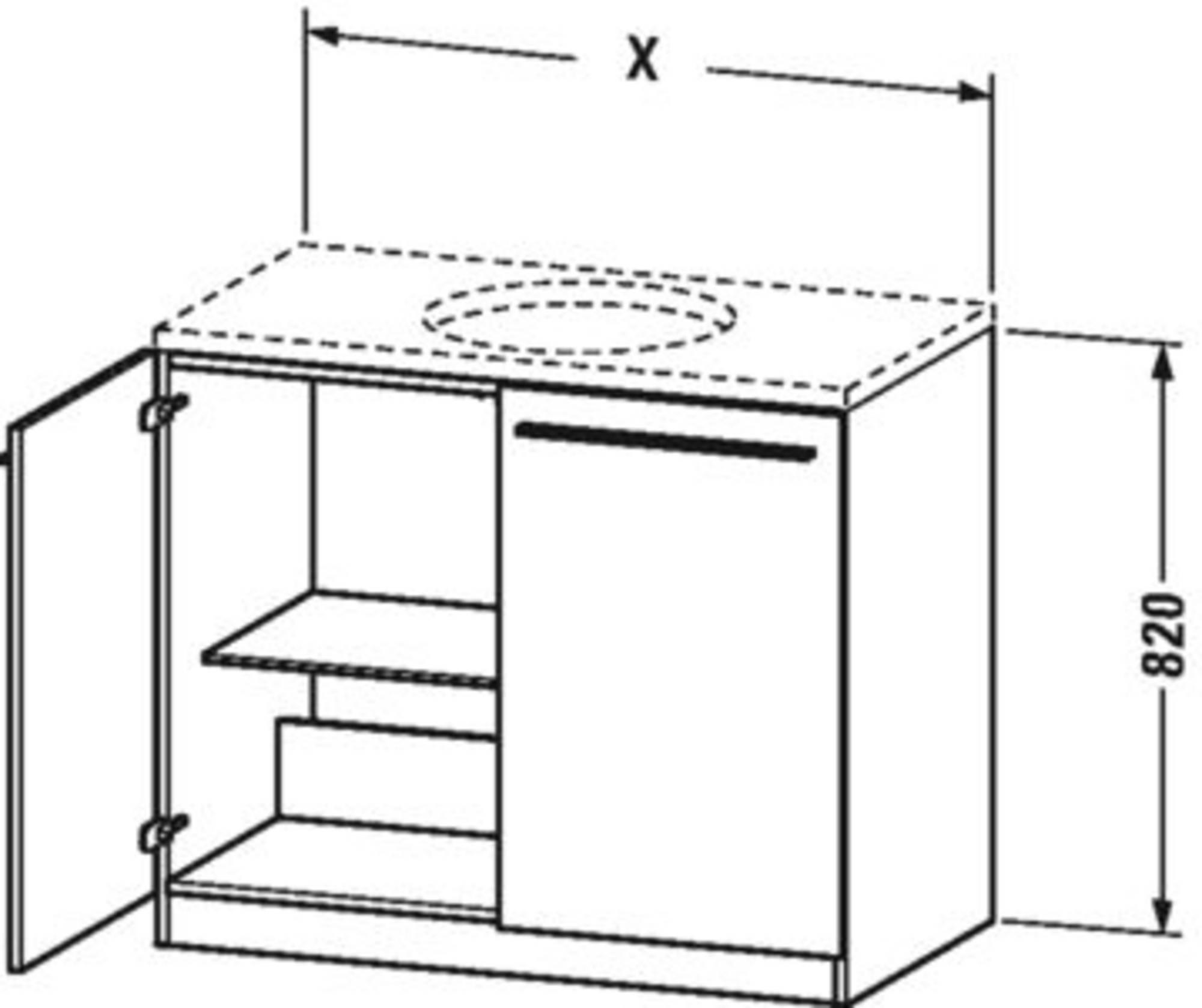 Duravit X-Large wastafelonderkast 2 deuren en 1 glazen tablet 80x54,8x82 cm Terra