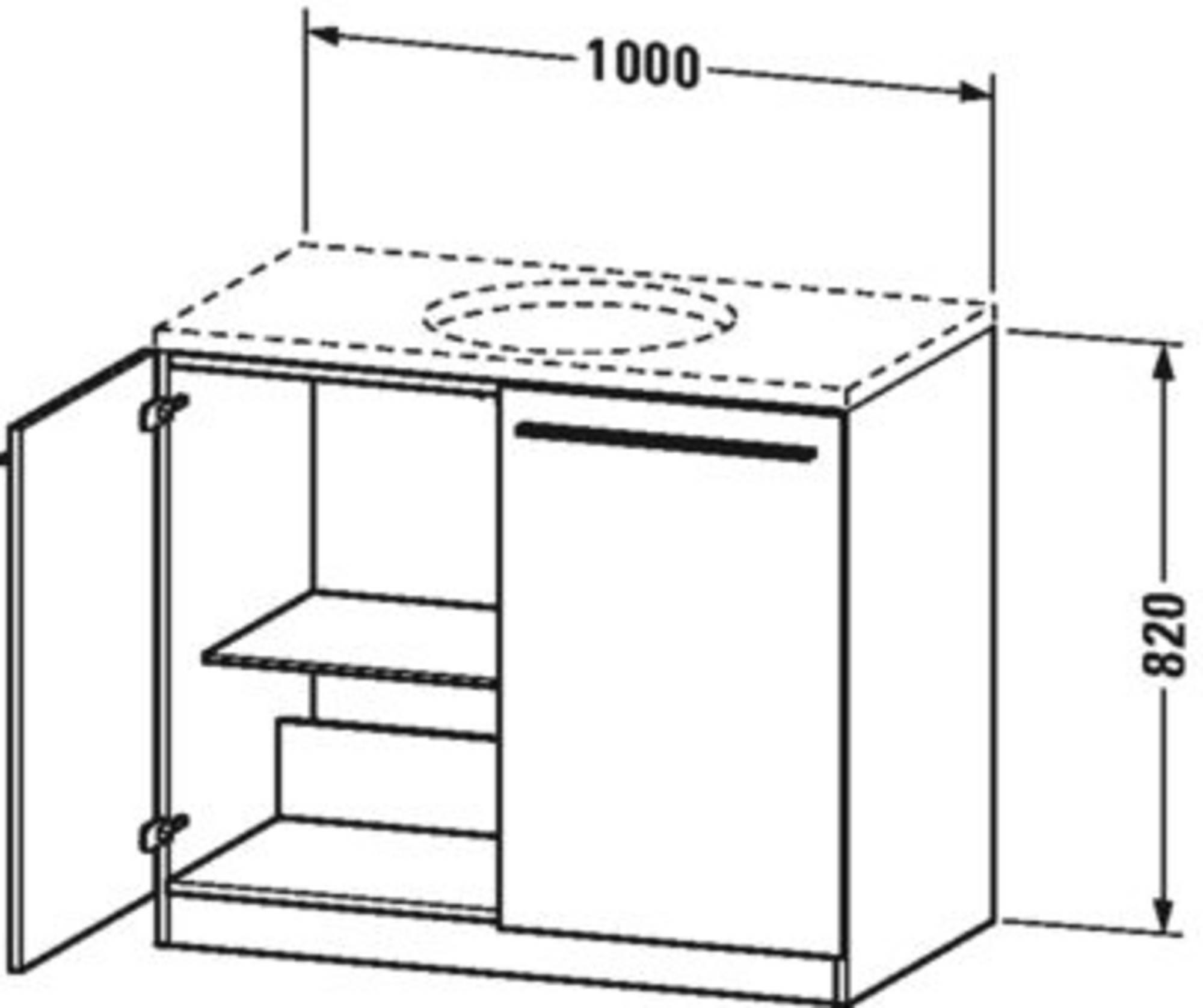 Duravit X-Large wastafelonderkast 2 deuren en 1 glazen tablet 100x54,8x82 cm Amerikaans noten