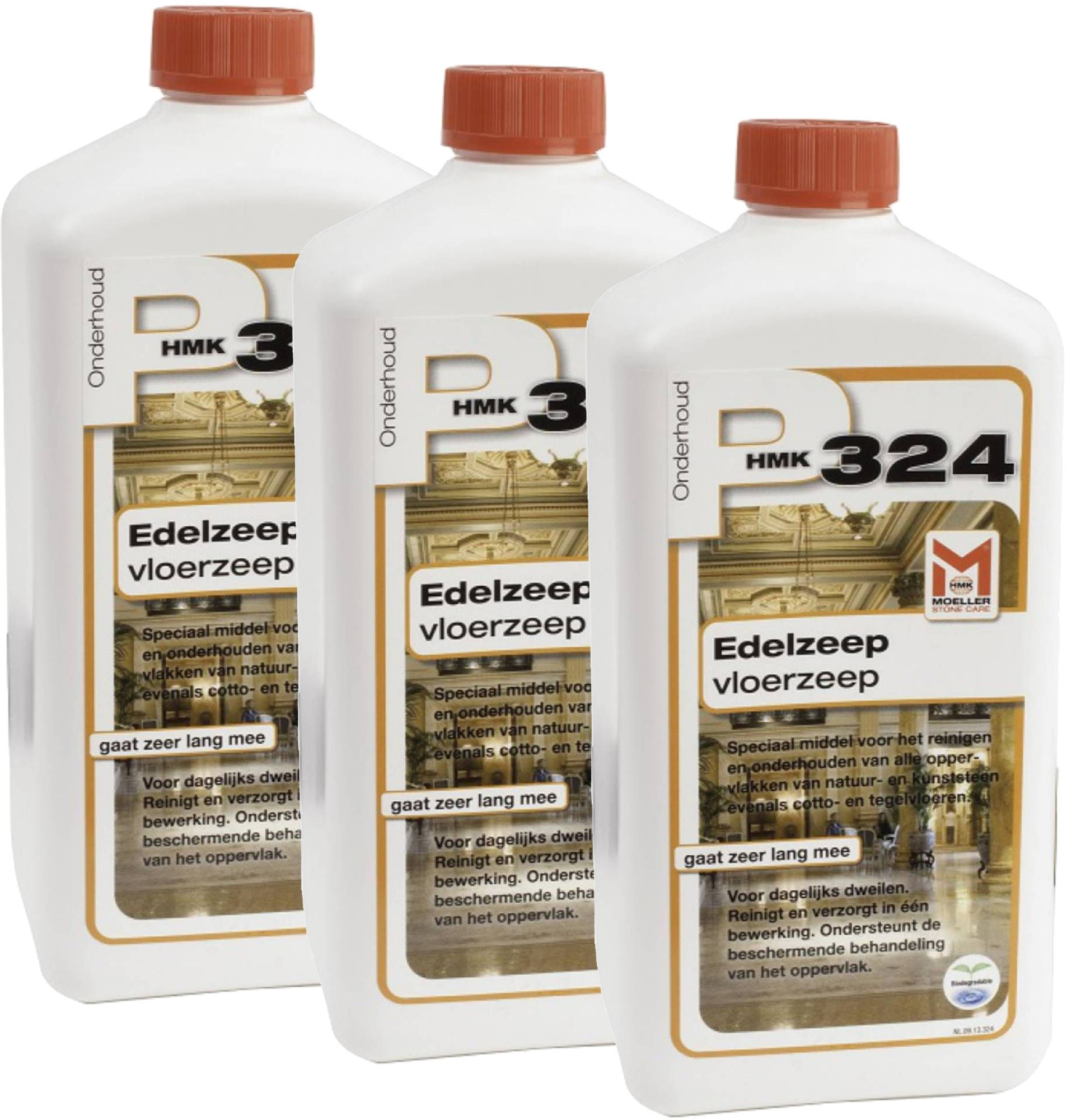 Dagaanbieding - HMK P324 3-pack Edelzeep voor de vloer (totaal 3 liter) dagelijkse koopjes