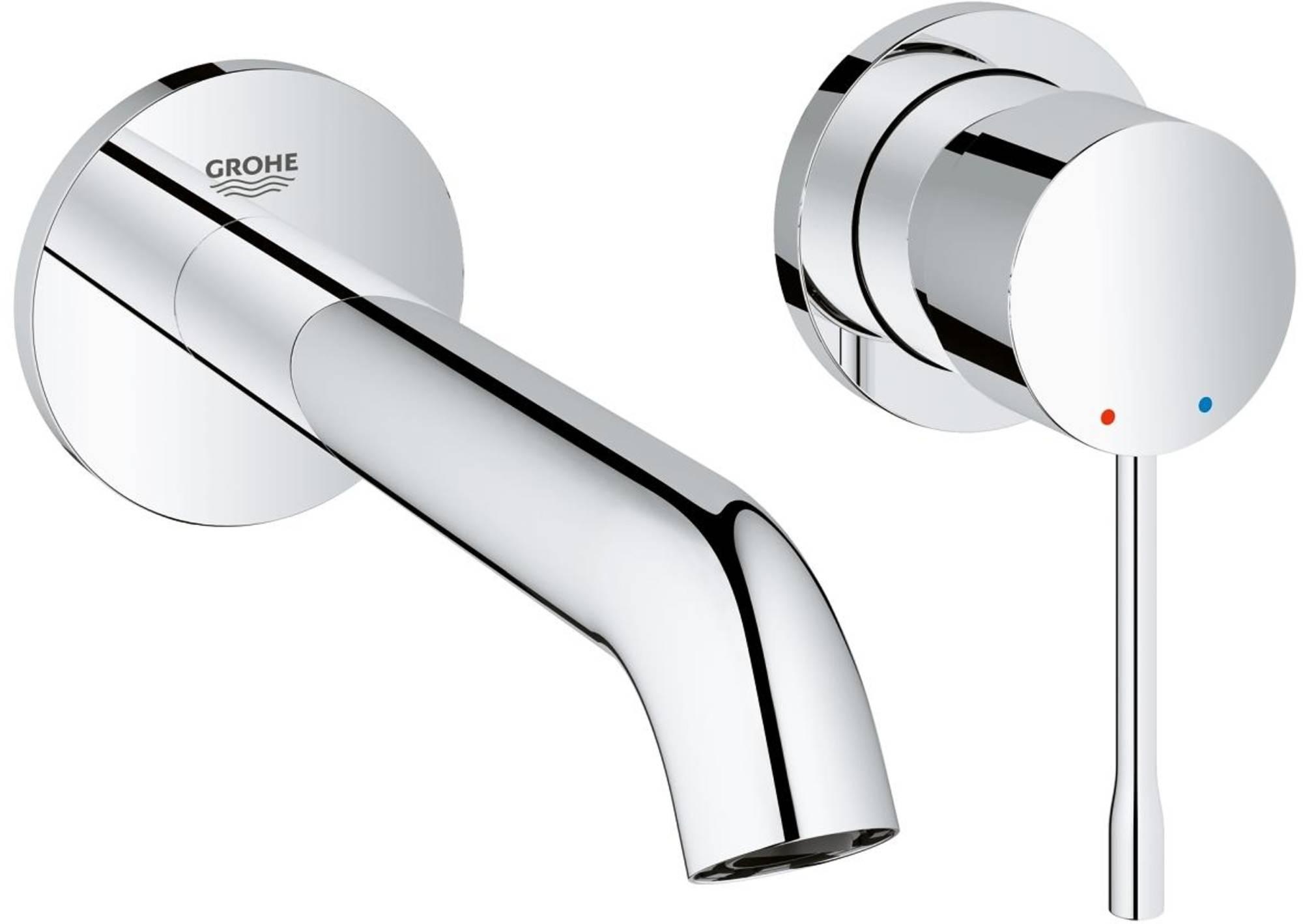 Grohe Essence New m-size afdekset 2-gats wand wastafelkraan chroom