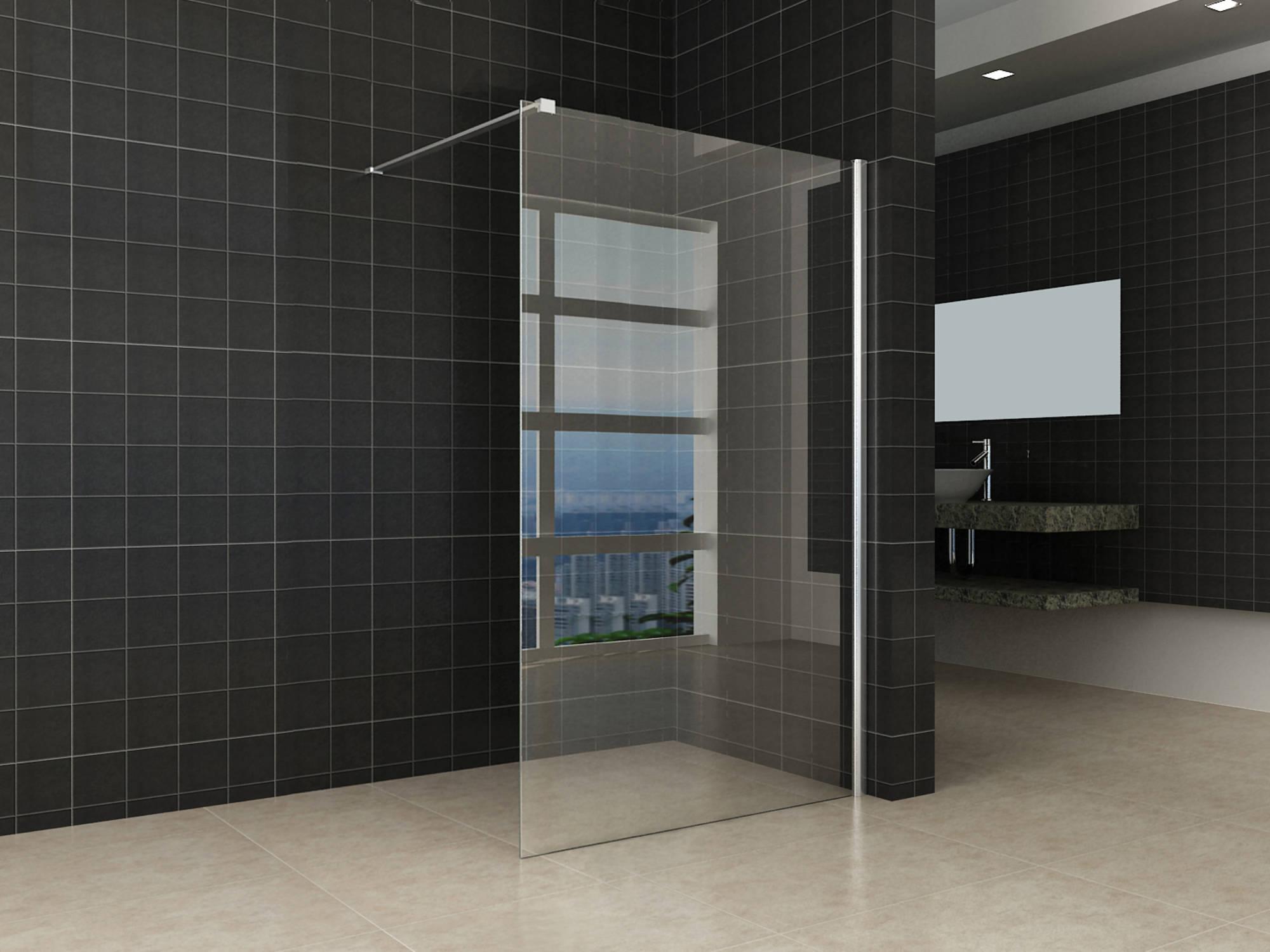 Productafbeelding van Saqu Splash Inloopdouche met muurprofiel 120x200 cm Nanoglas