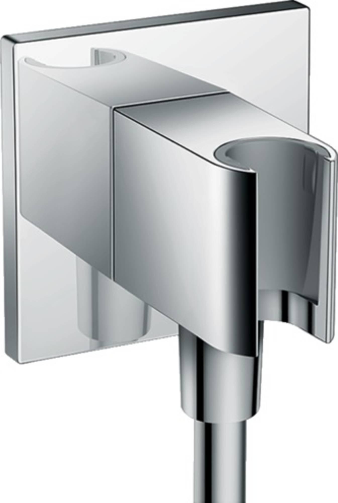 HANSGROHE FIXFIT Chroom porter square handdouchehouder met muuraansl.bocht 26486000