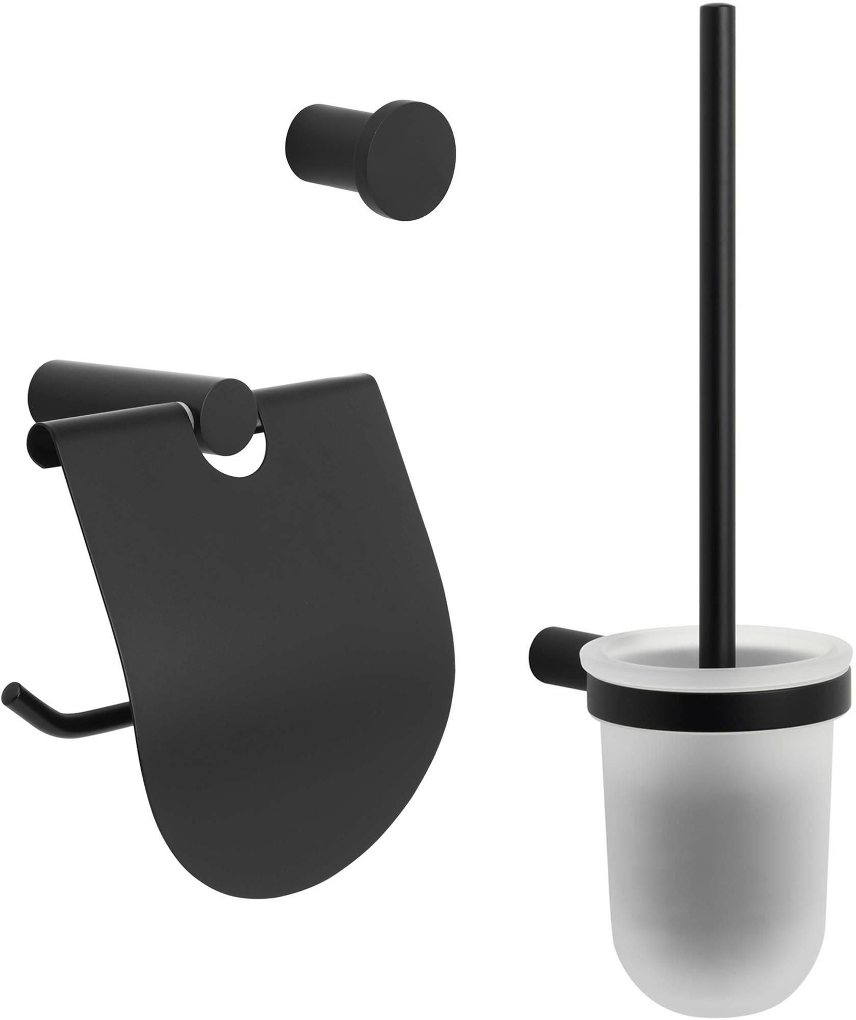 Dagaanbieding - Saqu Black toilet accessoireset 3-in-1 Mat Zwart dagelijkse koopjes