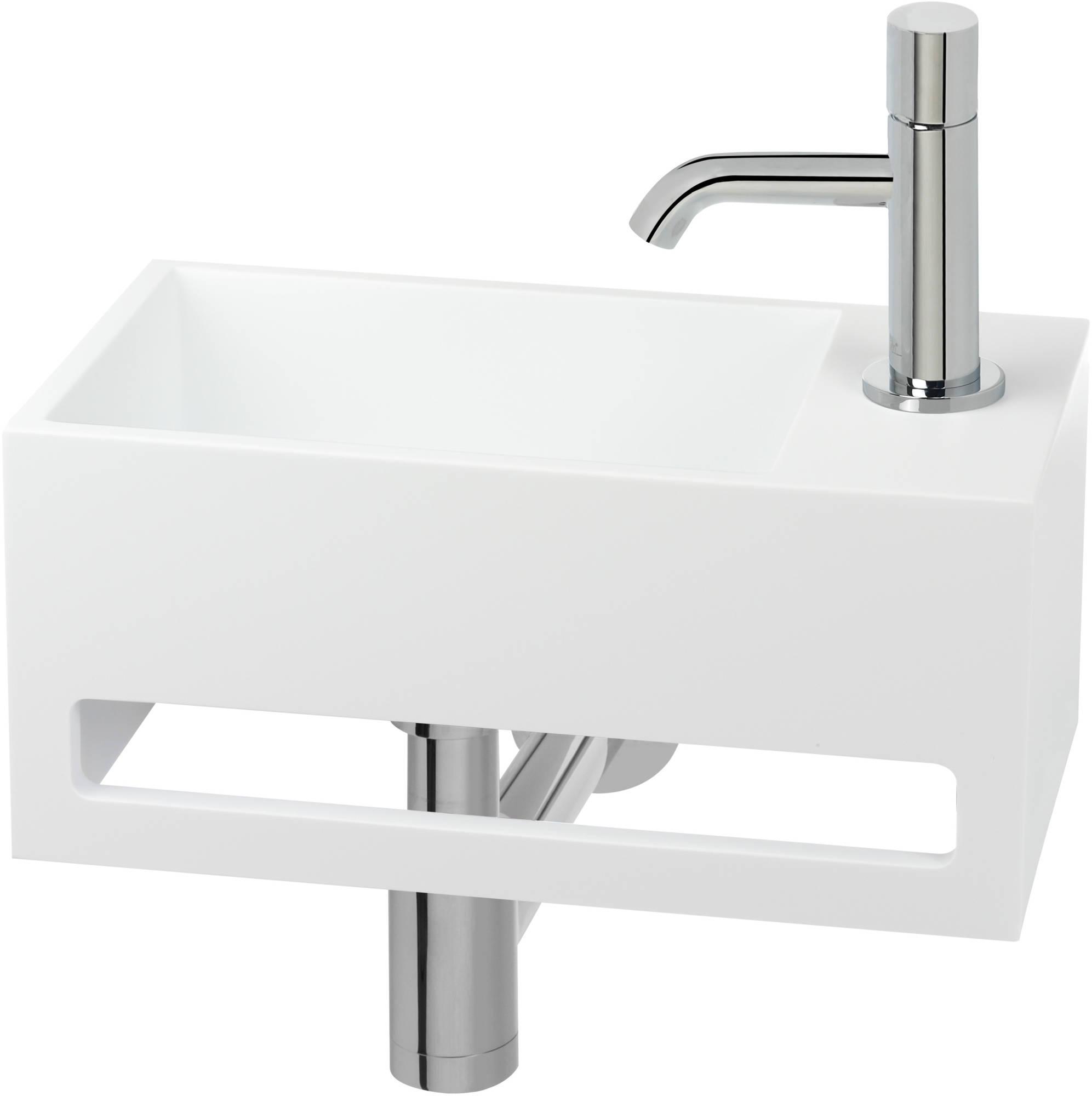 Productafbeelding van Saqu Tendenza Fonteinset Solid Surface rechts mat wit incl. chromen kraan met draaiknop