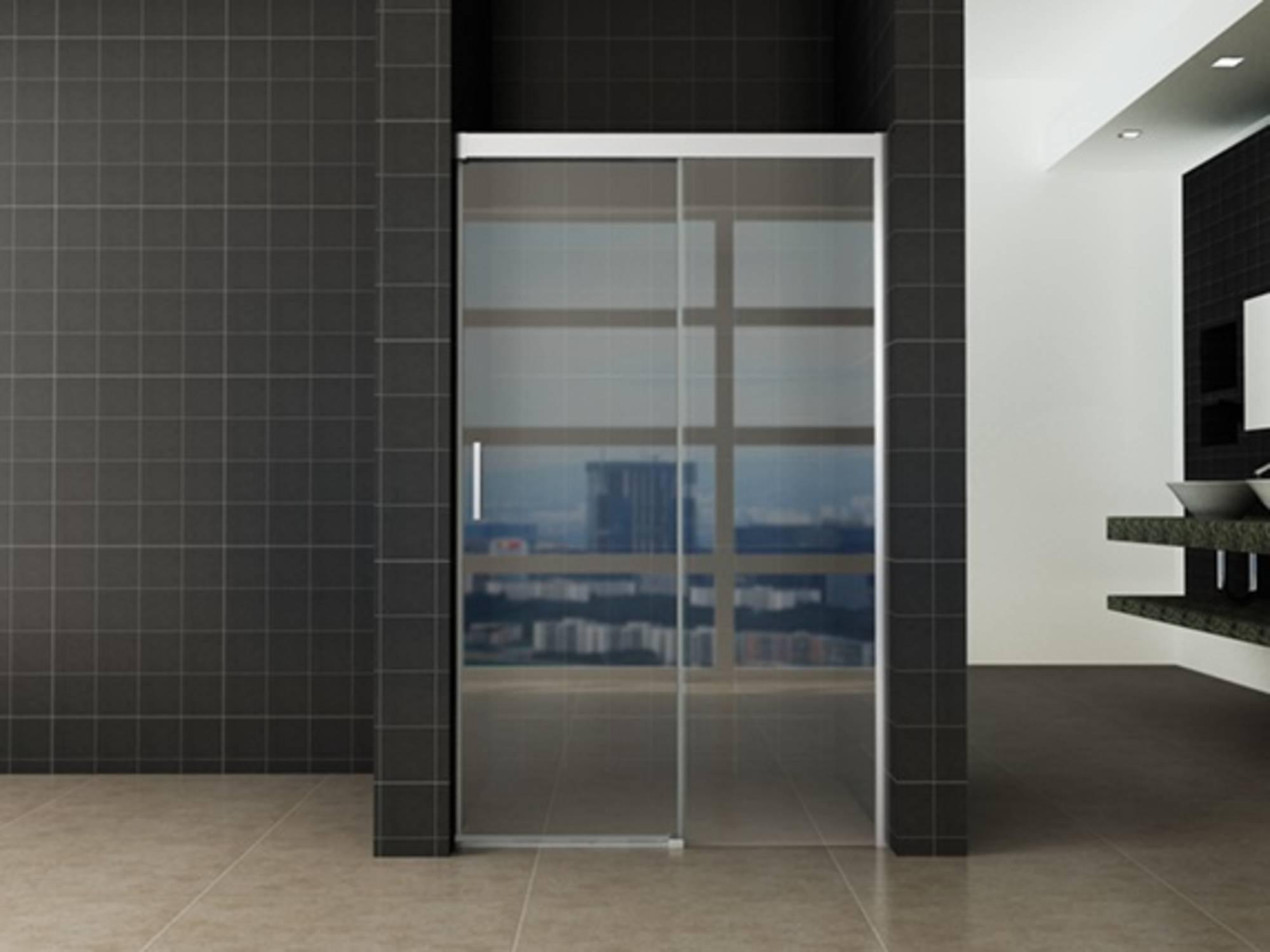 Saqu Douchedeur 110x200 cm met Soft-close Helder Glas - Aluminium