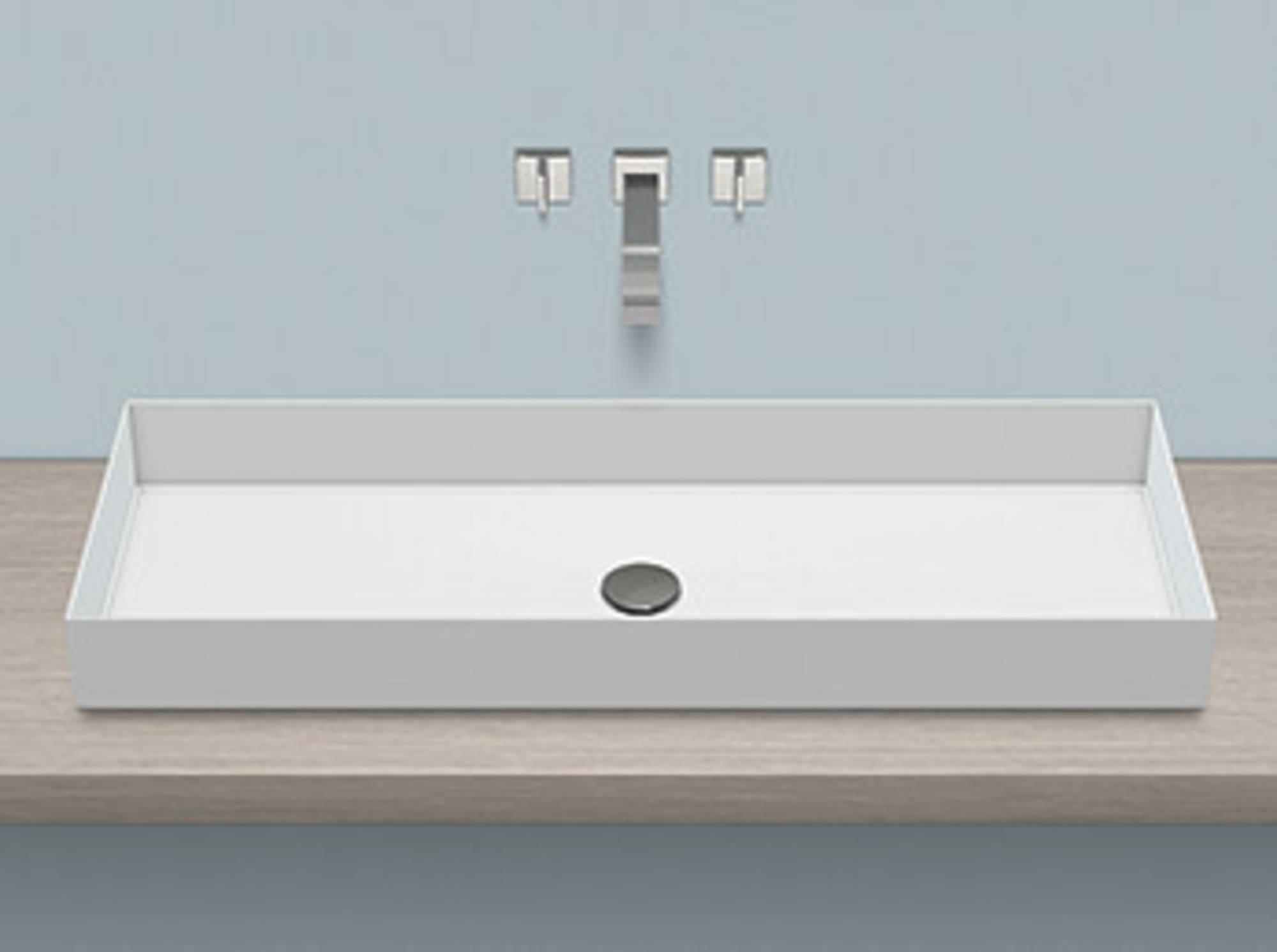 Alape Metaphor AB.ME1000 opbouwwaskom 100x37.5x11cm Clean z. kraangat z. overloop incl. plug wit