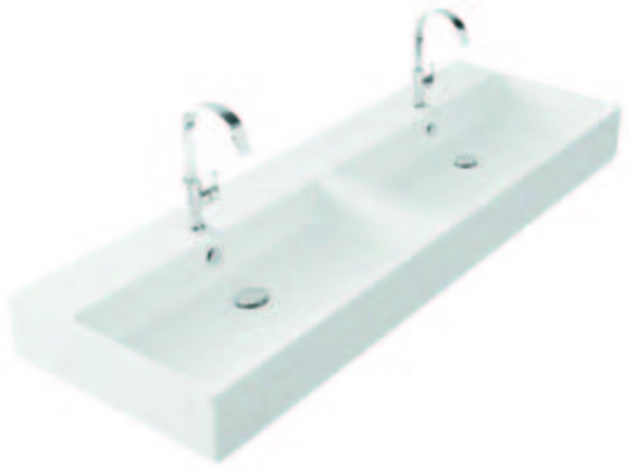 Productafbeelding van Thebalux Spirit wastafel zonder kraangat 140,5x46x12cm wit