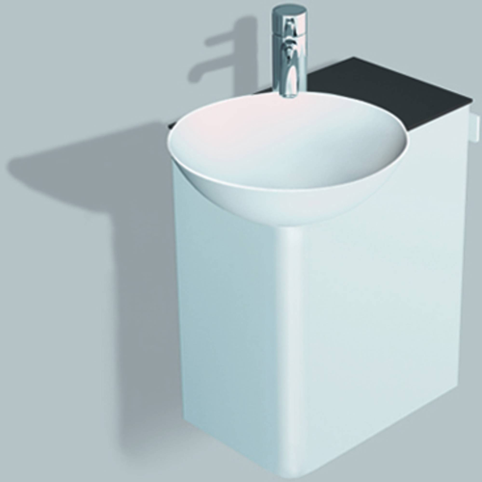 Alape Wp.insert 1 meubelset 48,5cm,wastafel links aflegvlak rechts, wit-antracietbruin