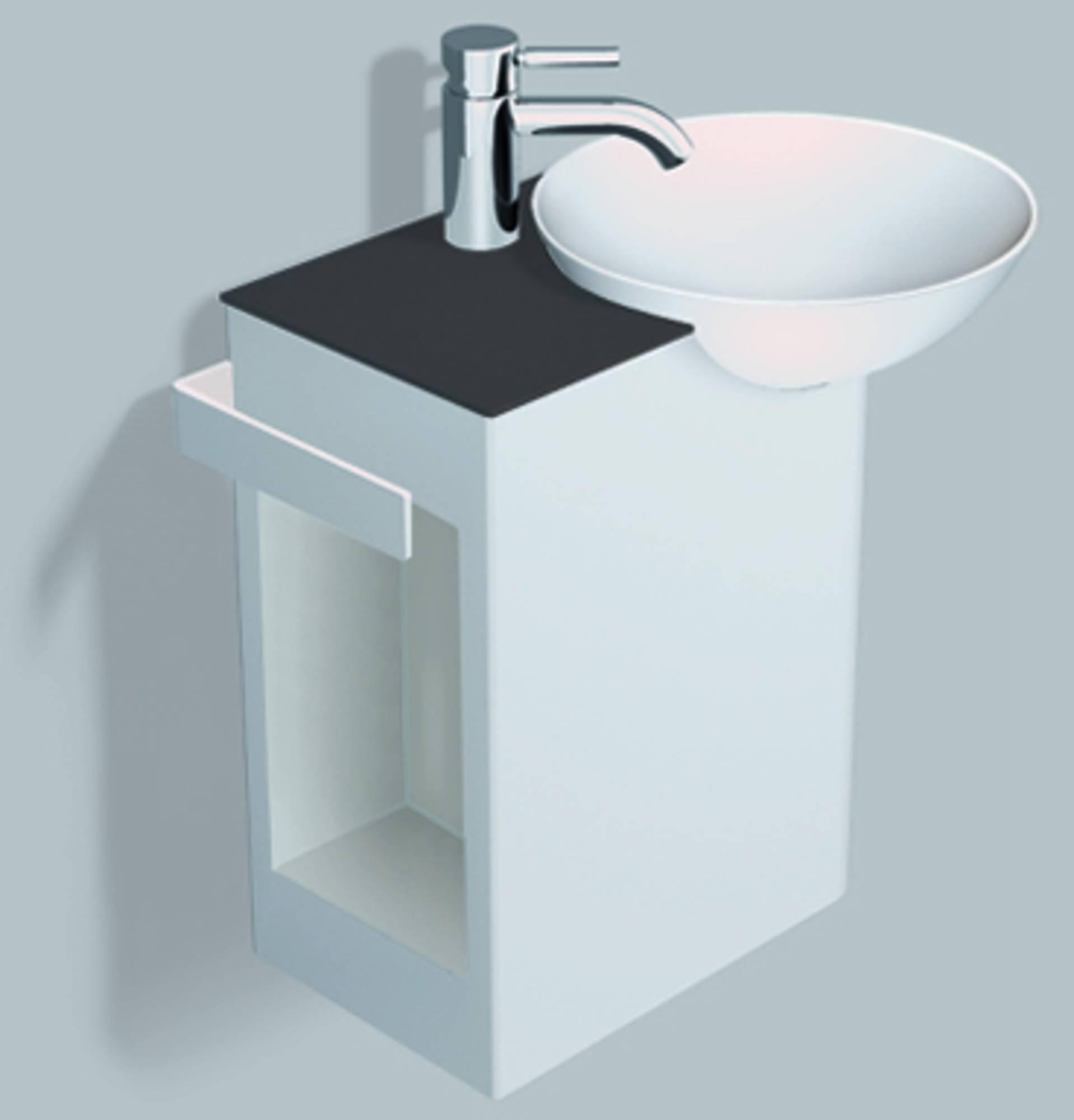 Alape Wp.insert 2 meubelset 48,5cm,wastafel rechts aflegvlak links, wit-antracietbruin