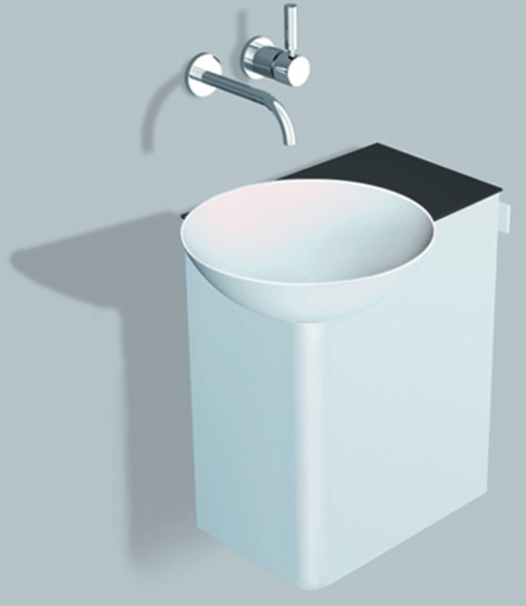 Alape Wp.insert 3 meubelset 48,5cm,wastafel links aflegvlak rechts, wit-antracietbruin