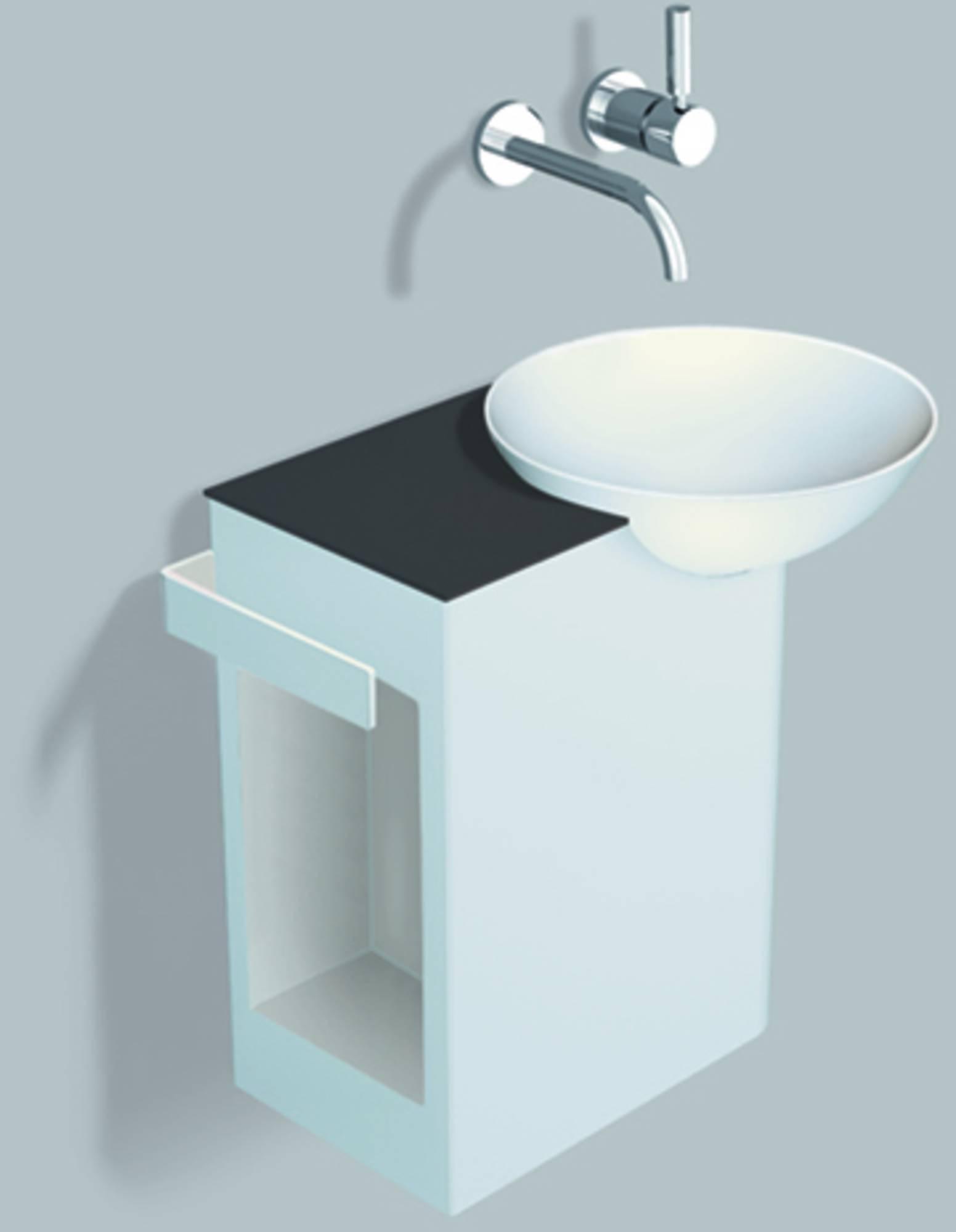 Alape Wp.insert 4 meubelset 48,5cm,wastafel rechts aflegvlak links, wit-antracietbruin