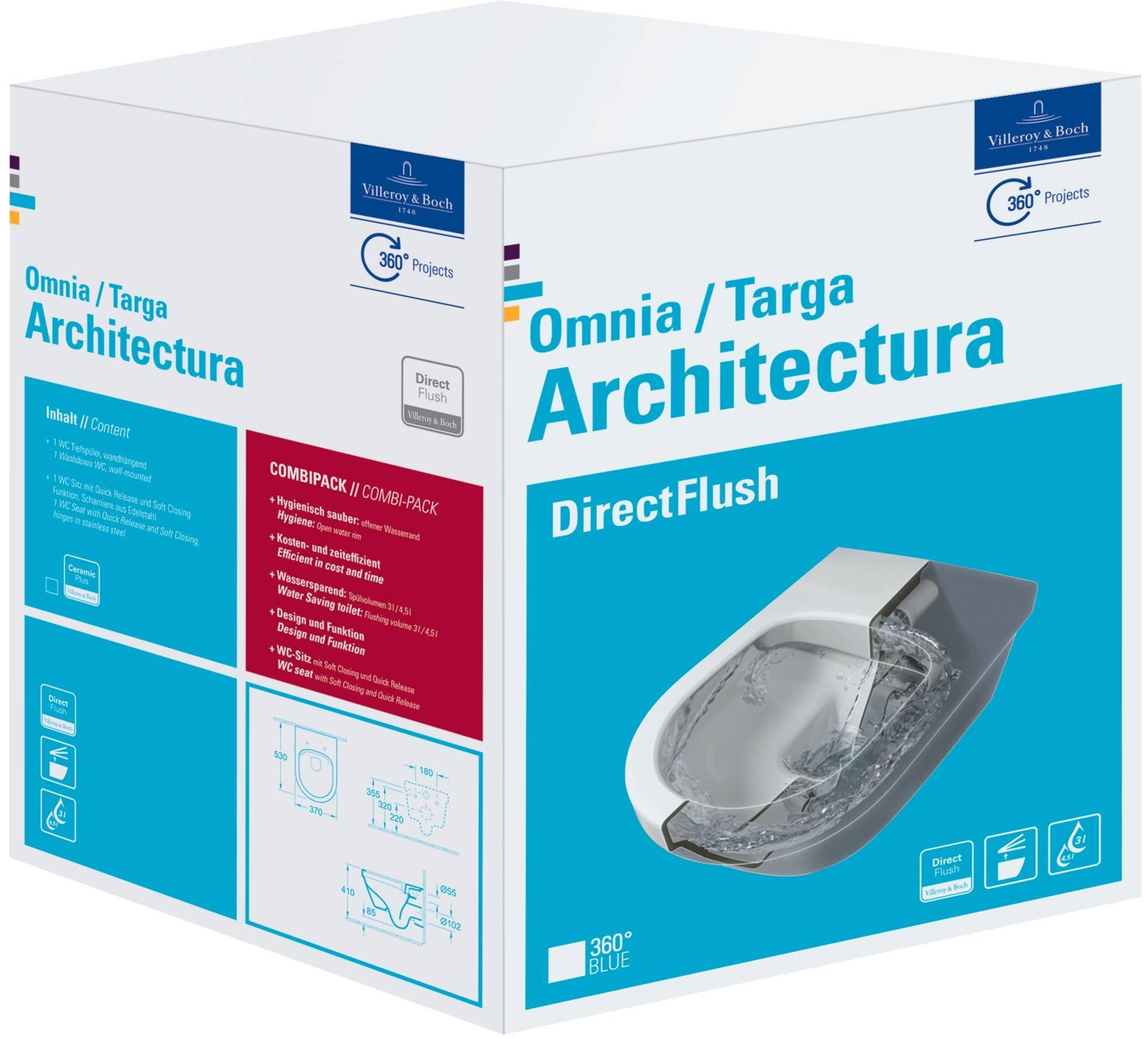 Villeroy & boch Omnia architectura wandcloset direct flush combi-pack met zitt.sc+qr, wit