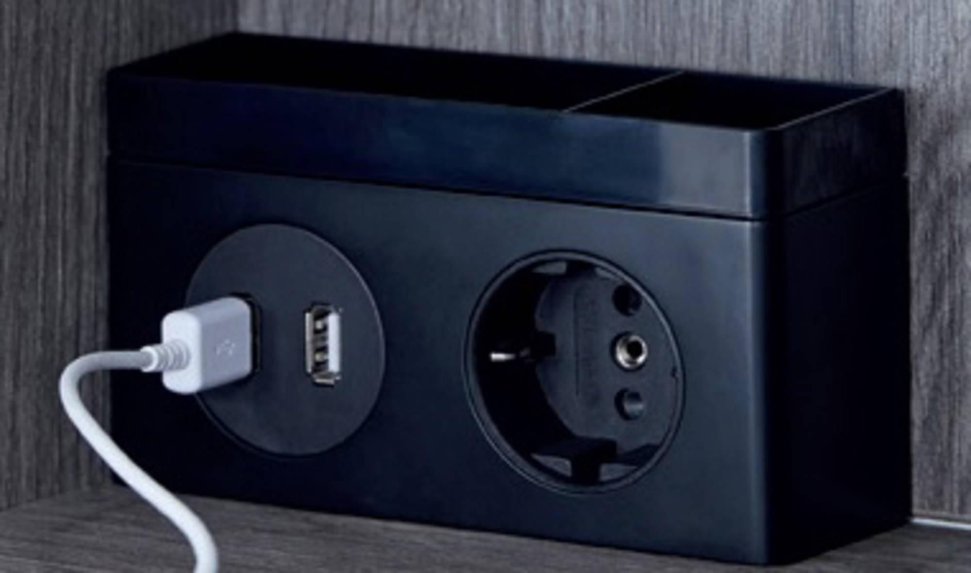 Thebalux Stopcontact met USB Zwart Mat
