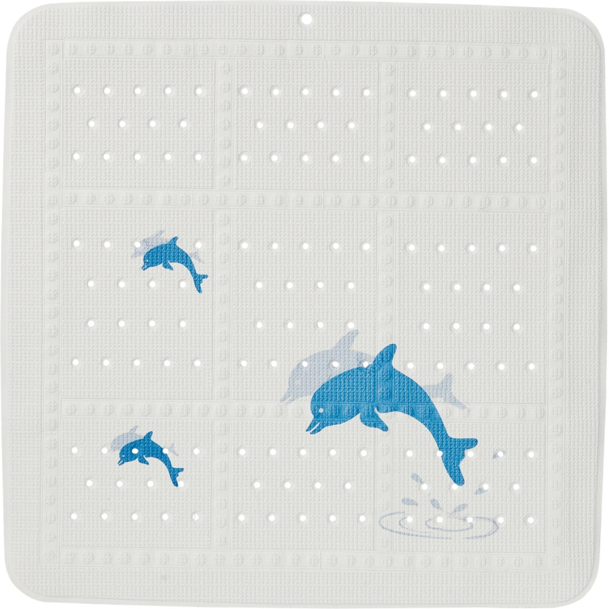 Sealskin Montreal veiligheidsmat pvc 55x55cm wit blauw dolfijntjes design