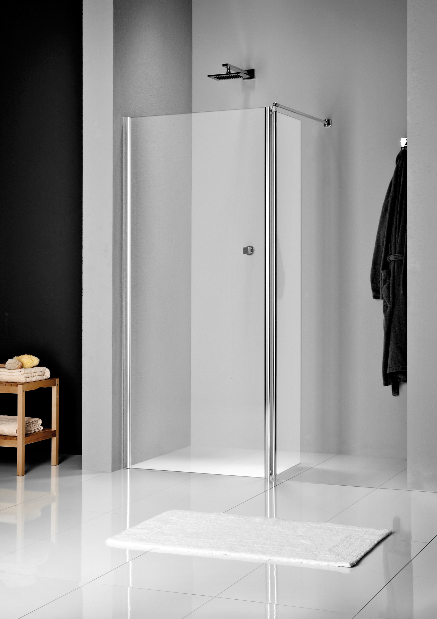 Sealskin Get Wet W205 inloop type a1 130x200cm mat zilver profiel en helder glas voorzien van antika
