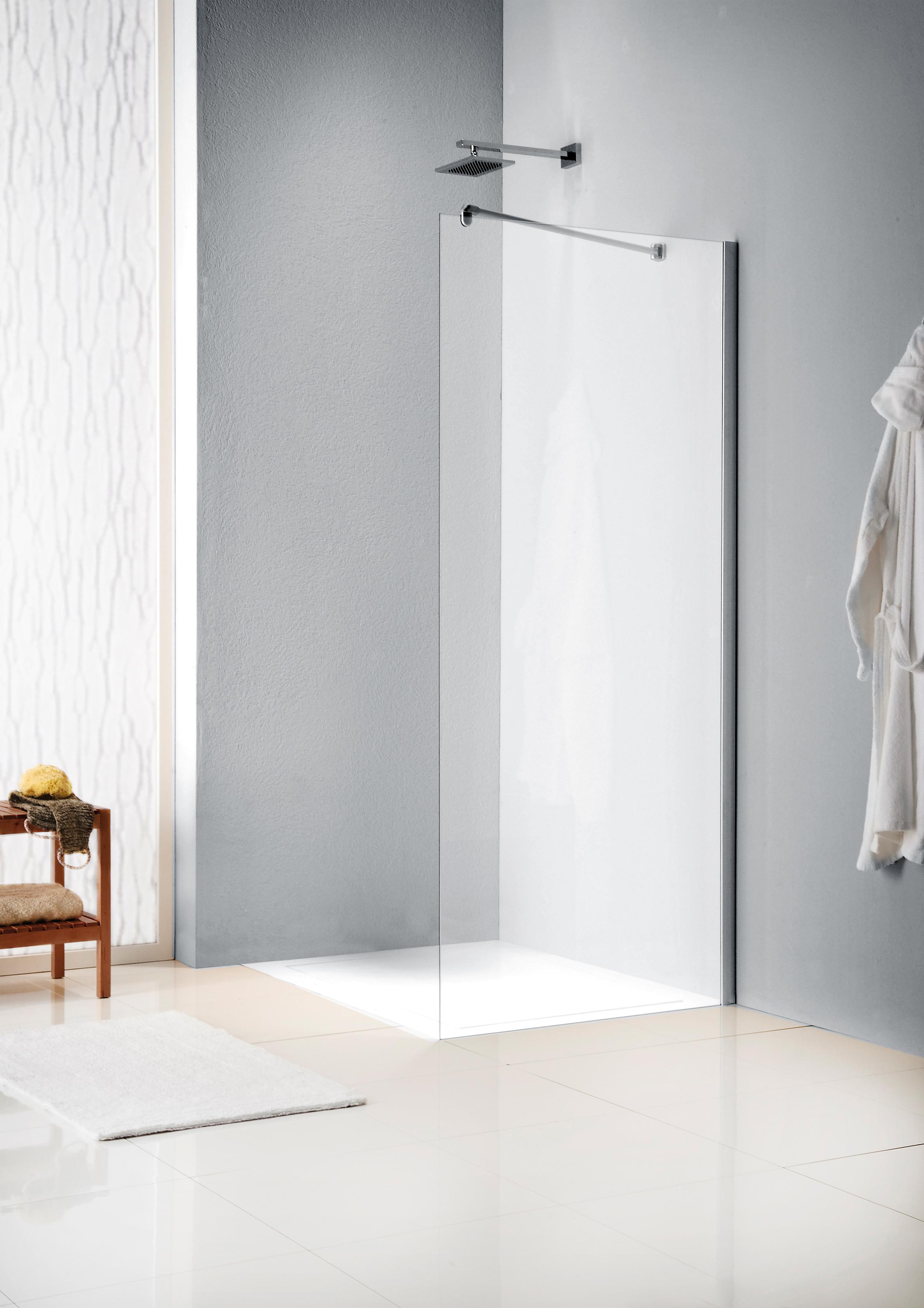 Sealskin Get Wet W205 inloopdouche 90x200cm mat zilver profiel en helder glas met gesatineerde band