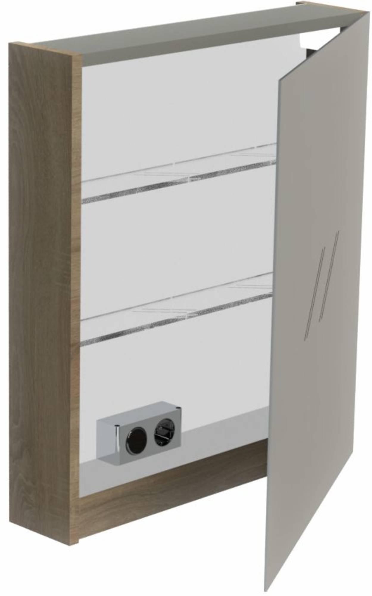 Thebalux Basic Spiegelkast linksdraaiend 70x60x13,5 cm Essen Grijs