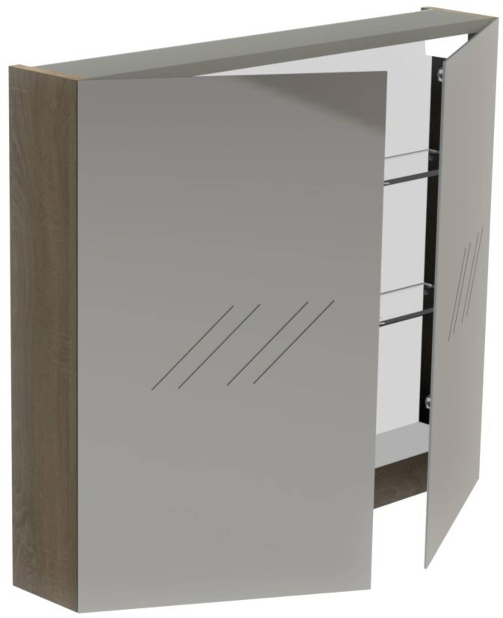 Thebalux Basic Spiegelkast 70x80x13,5 cm Eiken Antraciet