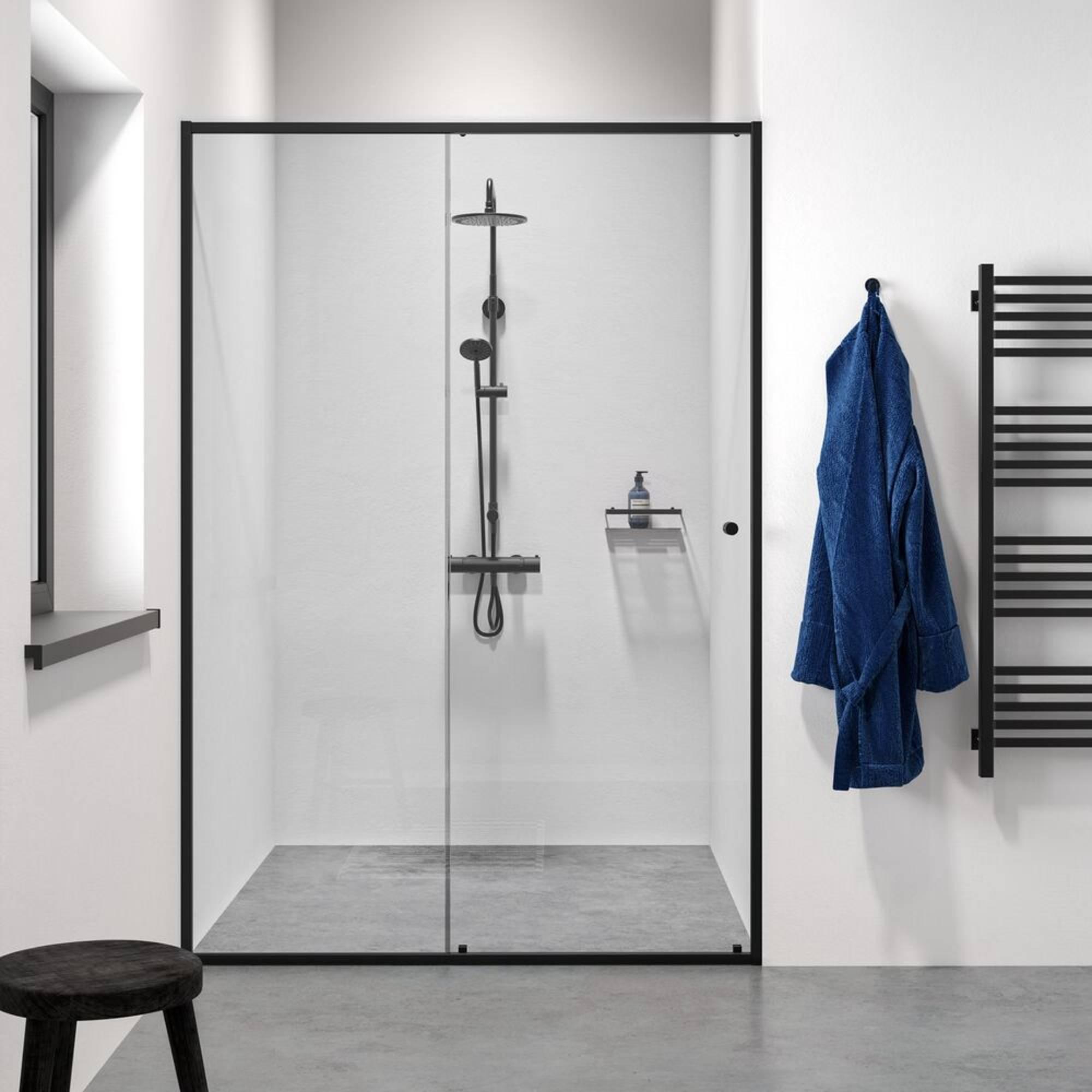 Sealskin Get Wet Contour Schuif douchedeur voor nis 140x200 cm Mat Zwart