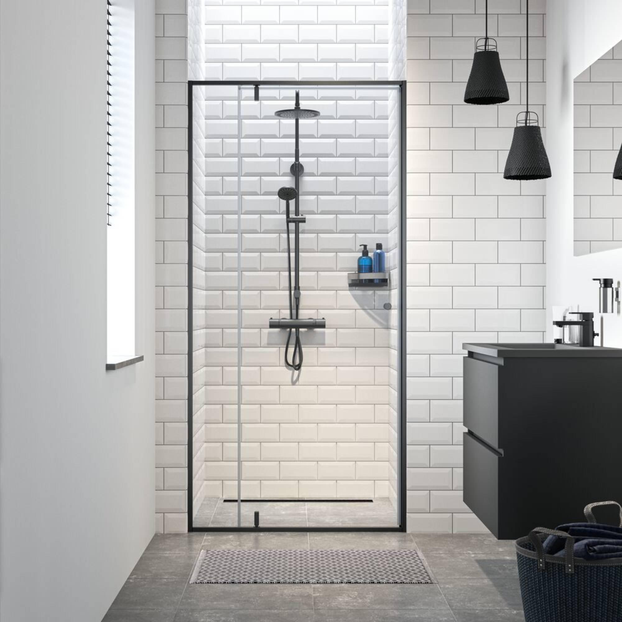 Sealskin Get Wet Contour Draai douchedeur voor nis 100x200cm Mat Zwart