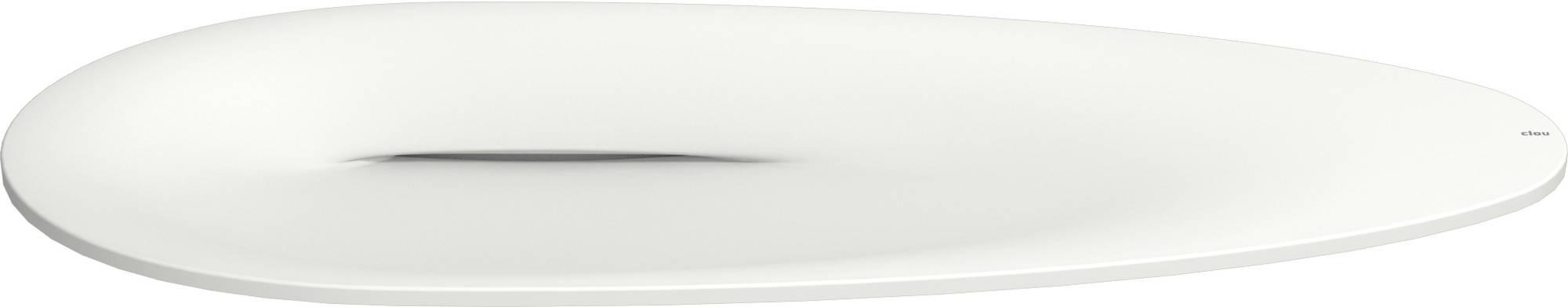 Wastafel Hangend Clou First Ovaal 84x46x11cm Cristalplant Wit 3 Kraangaten