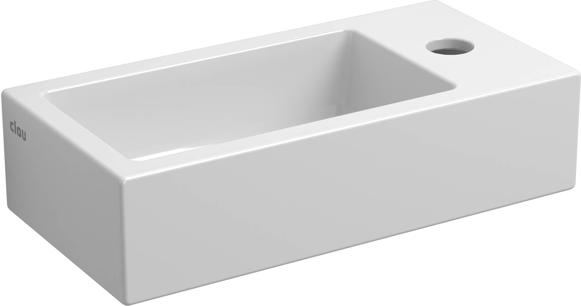 Clou Flush fontein (flush 3) met kraangat rechts met plug wit keramiek