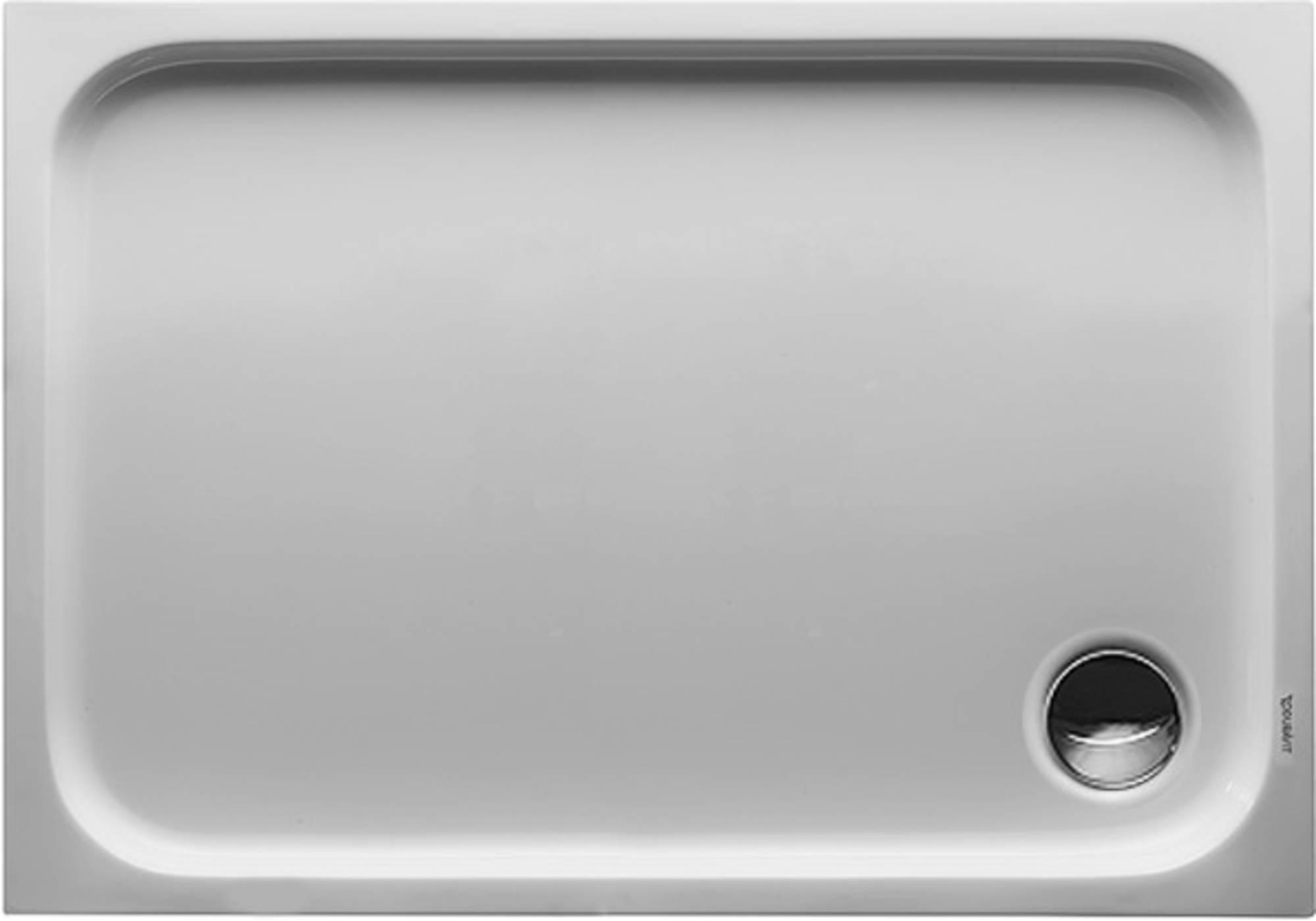Duravit D-Code kunststof douchebak acryl rechthoekig z. paneel 100x70cm m. afvoergat Ø90mm wit