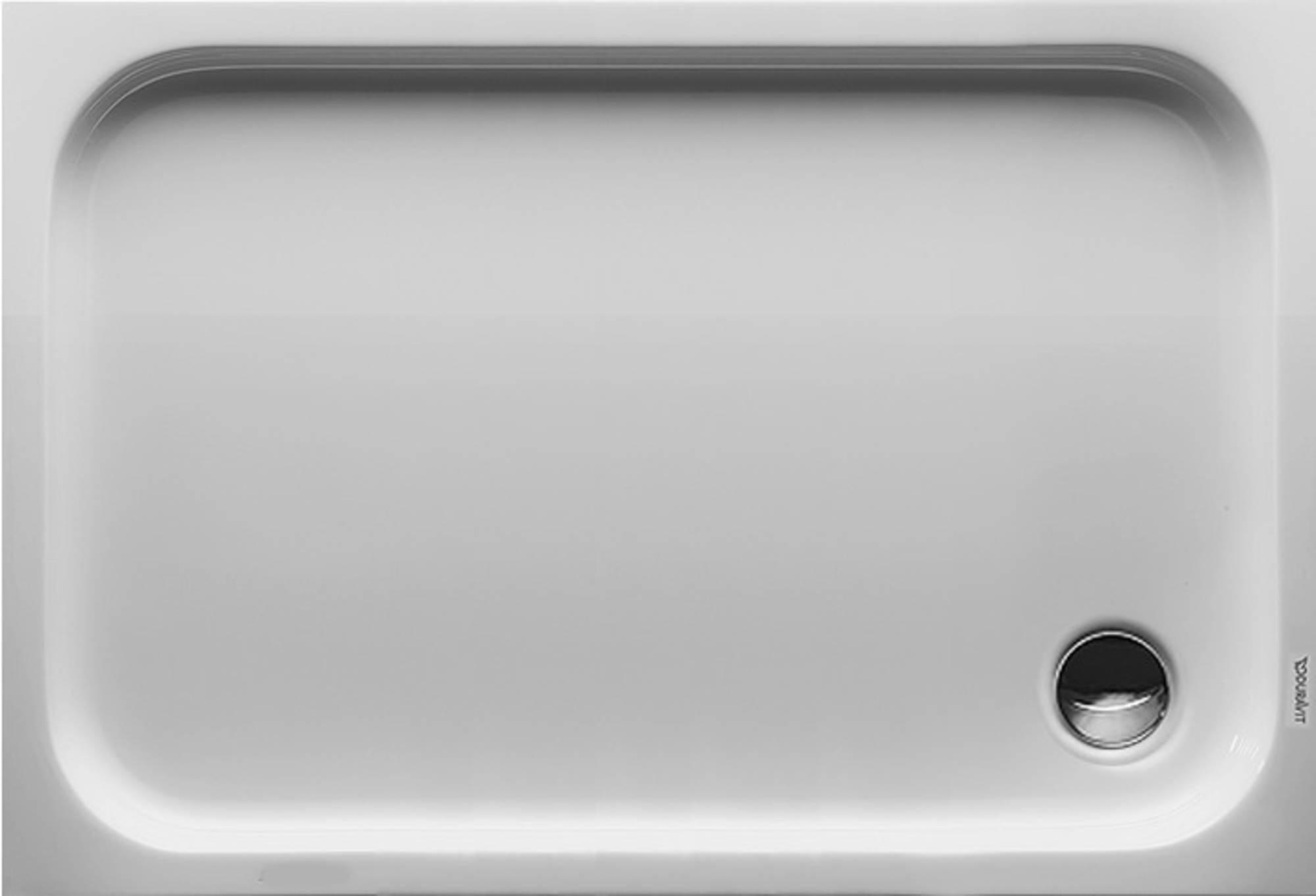 Duravit D-Code kunststof douchebak acryl rechthoekig z. paneel 120x80cm m. afvoergat Ø90mm wit