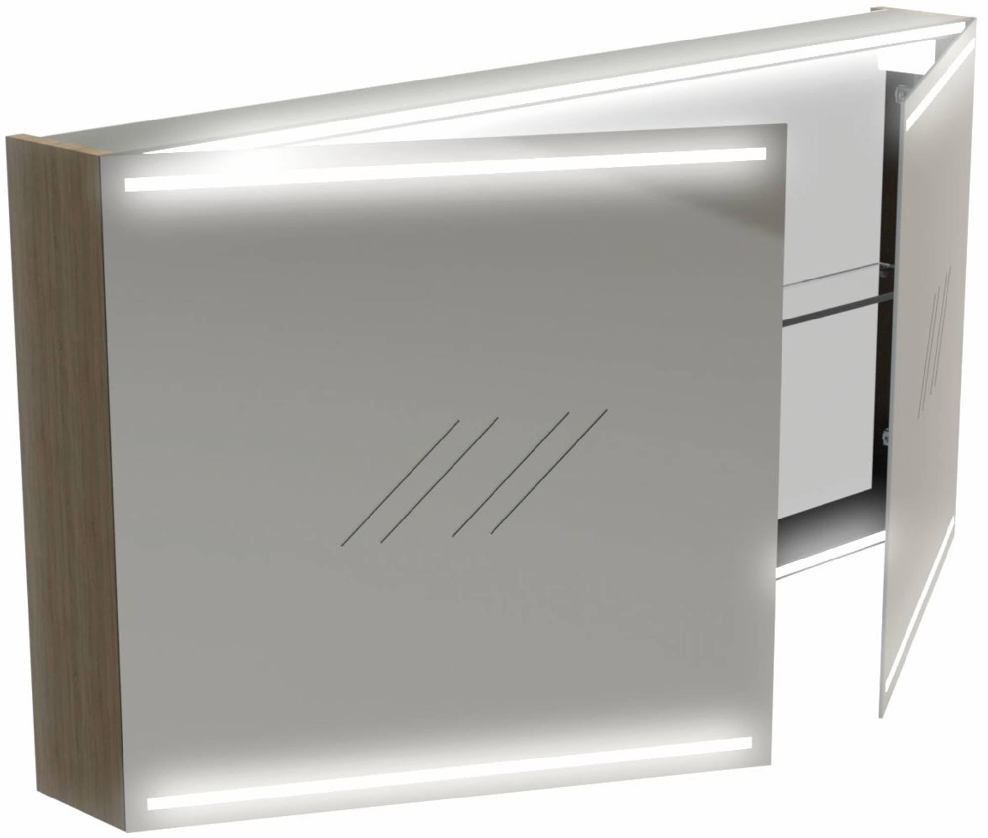 Thebalux Deluxe Spiegelkast 60x120x13,5 cm Wit Hoogglans Lak