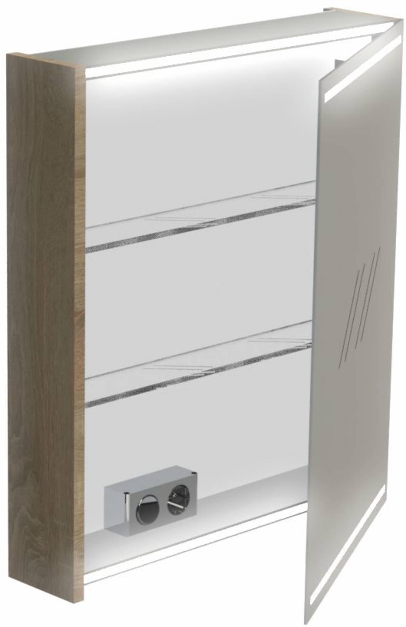 Thebalux Deluxe Spiegelkast rechtsdraaiend 70x60x13,5 cm  Authentic Oak