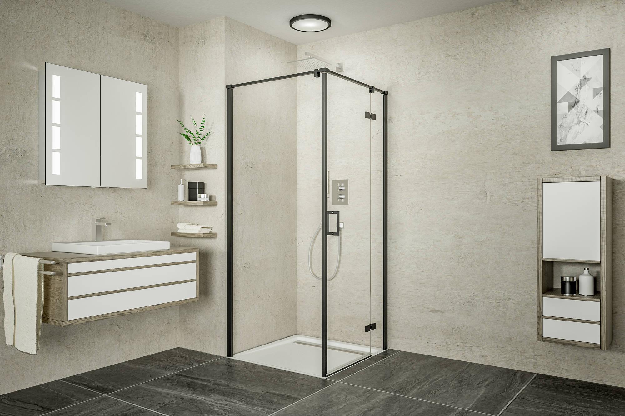 Ben Meteora Zijwand voor douchedeur 90x200 cm Mat Zwart