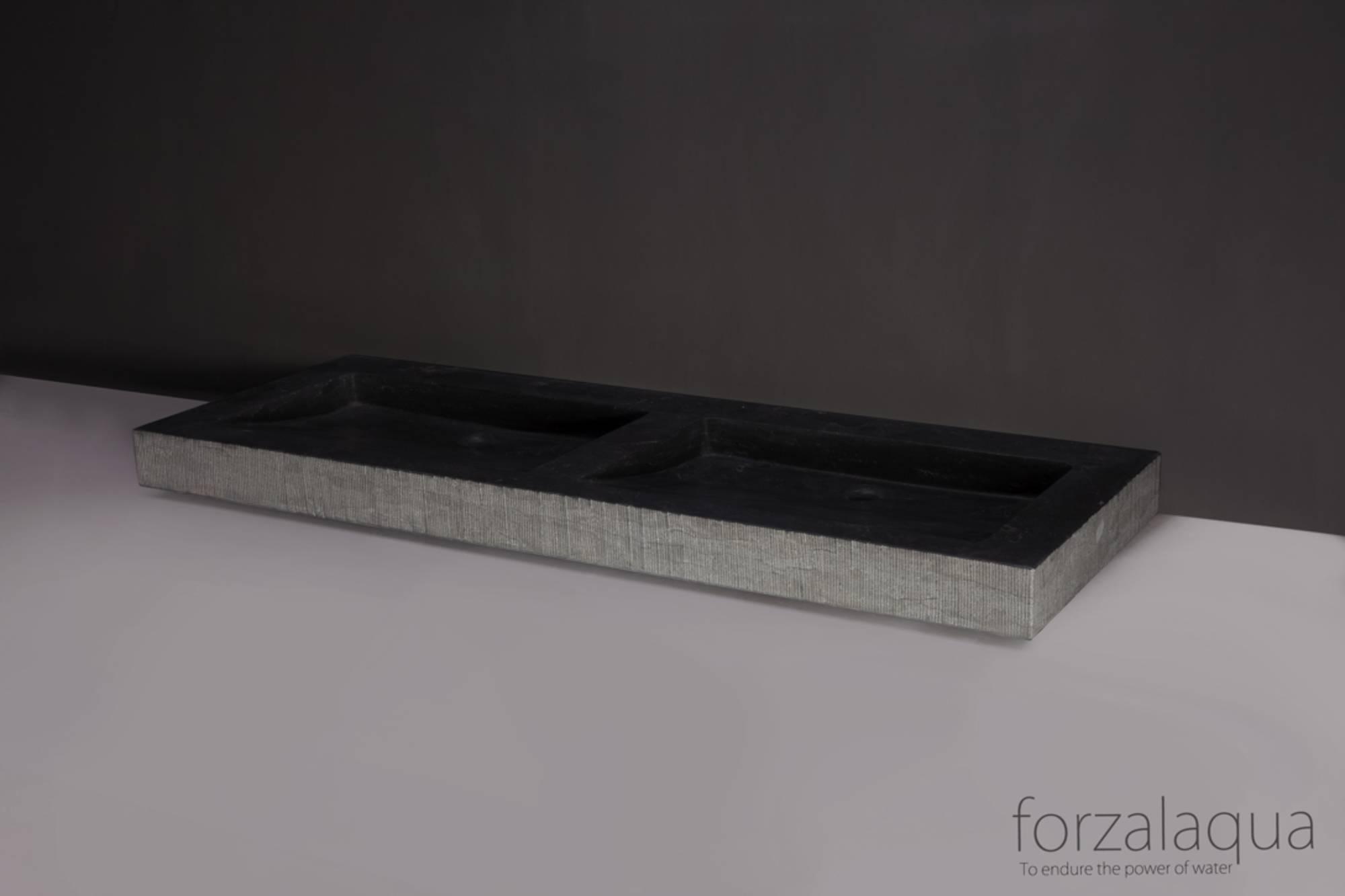 Forzalaqua Palermo Doppio wastafel 140,5x51,5x9 cm Hardsteen gefrijnd