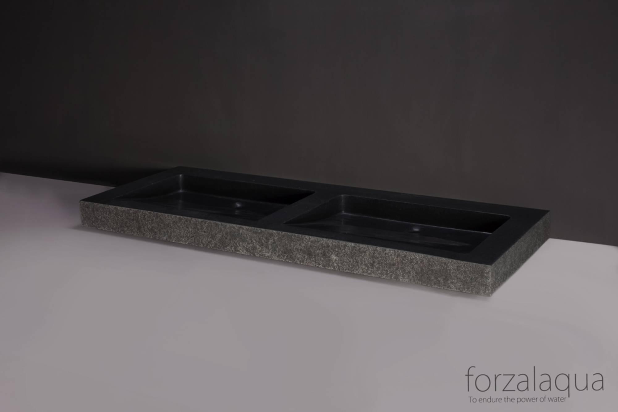Forzalaqua Palermo Wastafel Dubbel 140,5x51,5x9 cm zonder kraangat Graniet Gezoet Gebrand