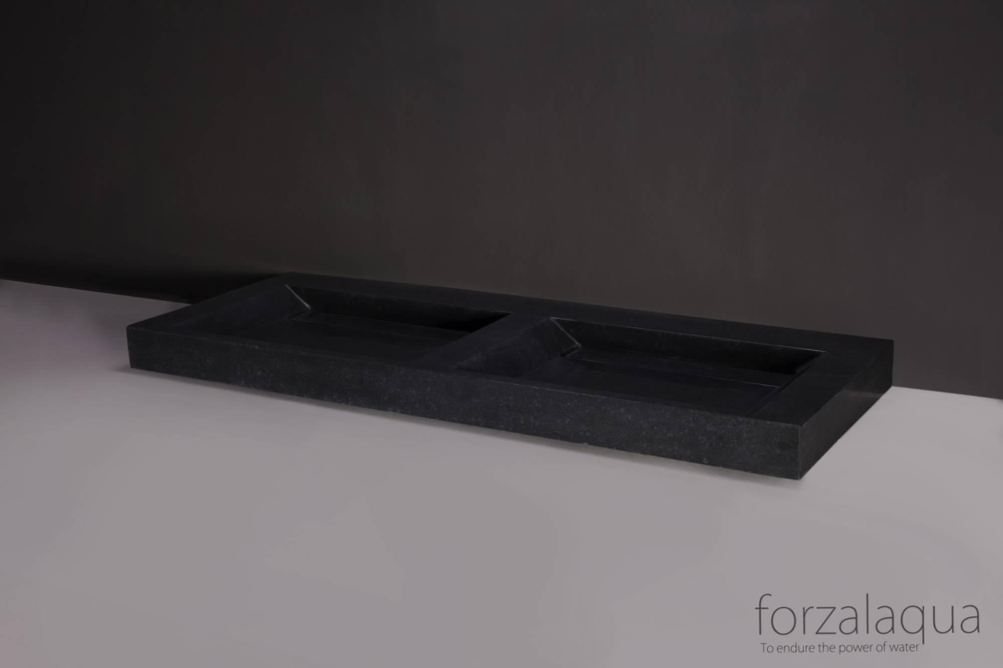 Productafbeelding van Forzalaqua Bellezza Doppio wastafel 140,5x51,5x9cm Graniet gezoet