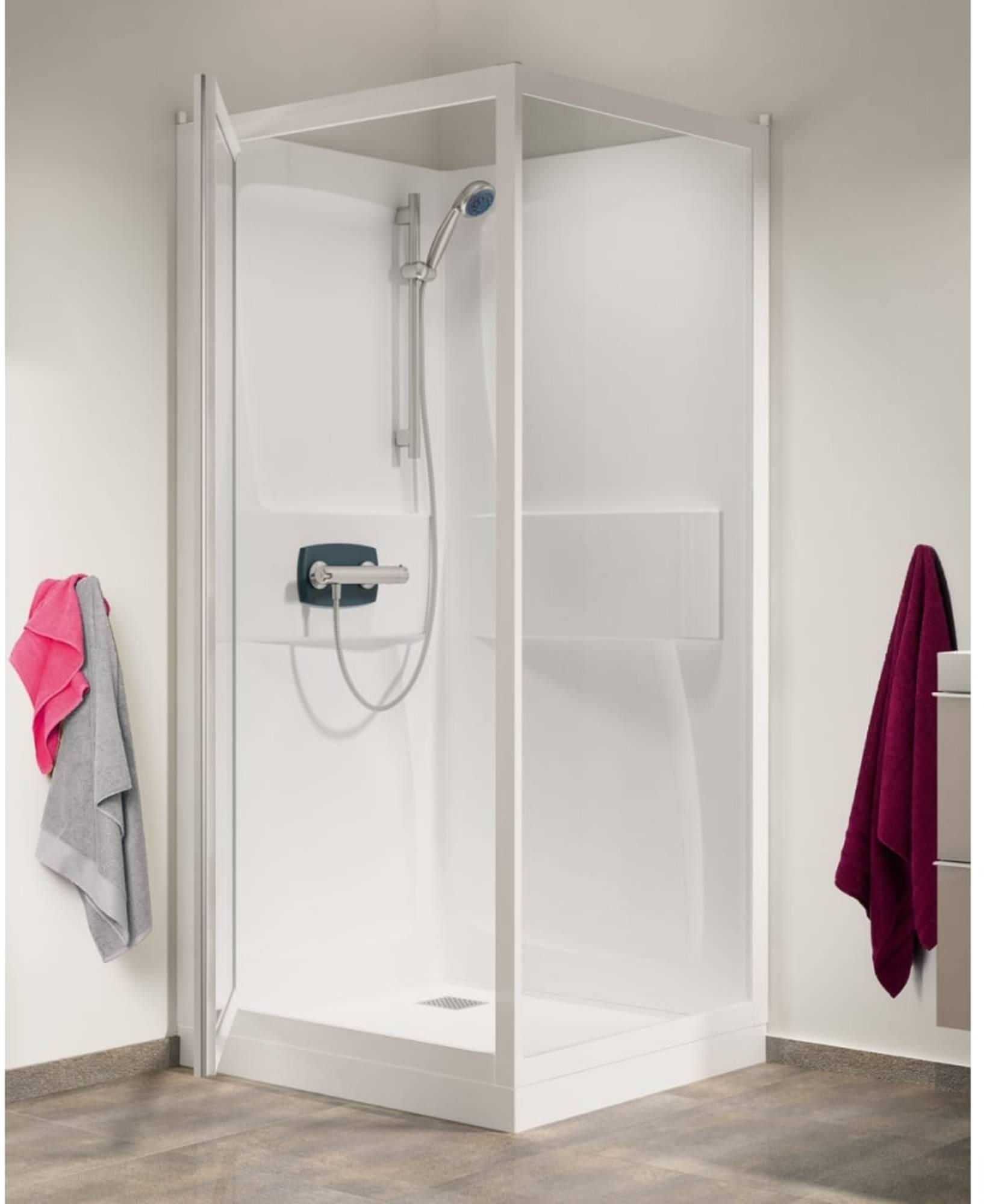 Productafbeelding van Kinedo Kineprime cabine 80x208 Draaideur+thermostaat Douchebak 18cm