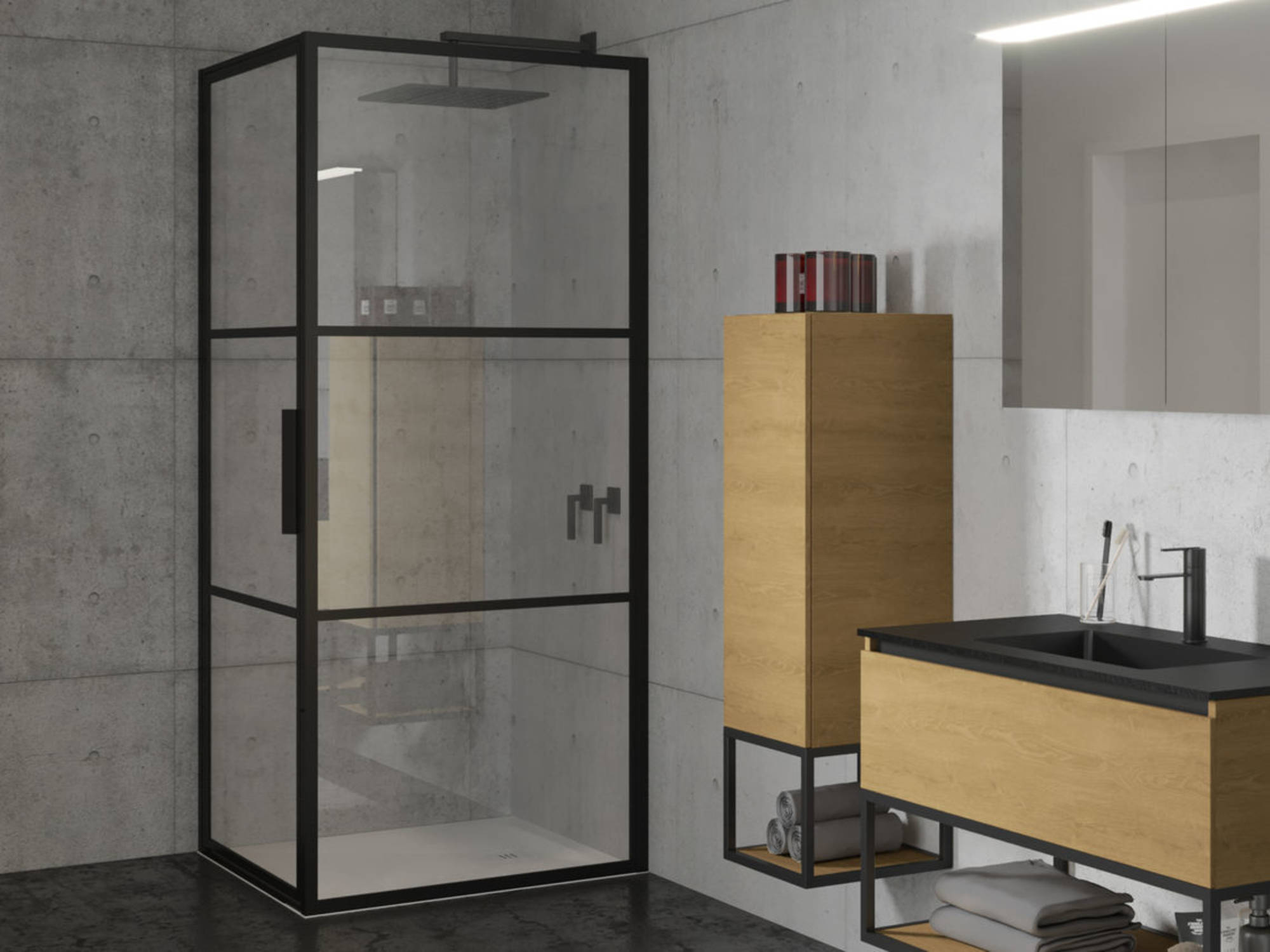 Productafbeelding van Riho Grid Douchecabine 100x90x200 cm Helder Glas/Mat Zwart
