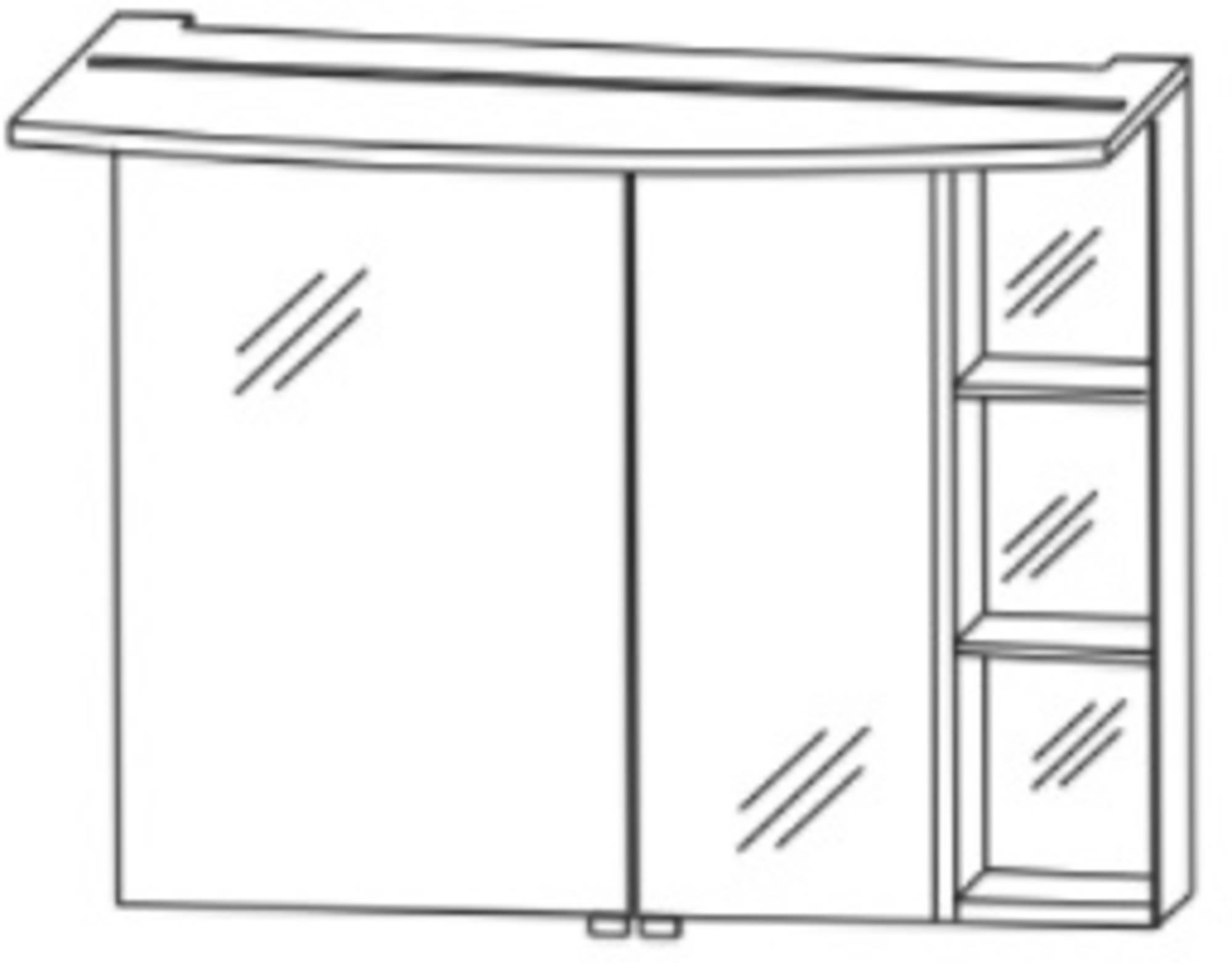 Saqu Pekka 2 Spiegelkast links 90x27x66,8 cm Hoogglans wit