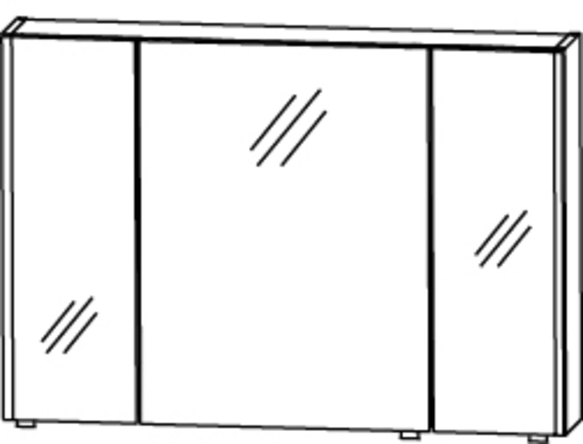 Saqu Pekka 4 Spiegelkast 100x17x64 cm Hoogglans wit