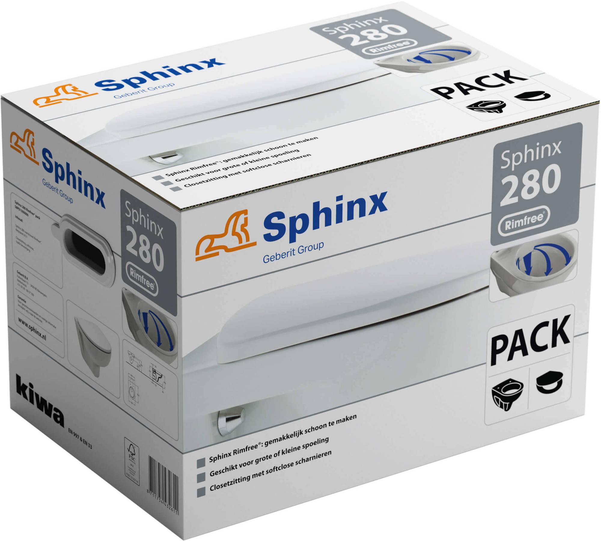 Sphinx 280 wc pack wandcloset diepspoel Rimfree met closetzitting softclose, wit