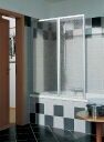 Kermi Vario badklapwand 2-delig 115 cm kunst parel Wit Ral 9016