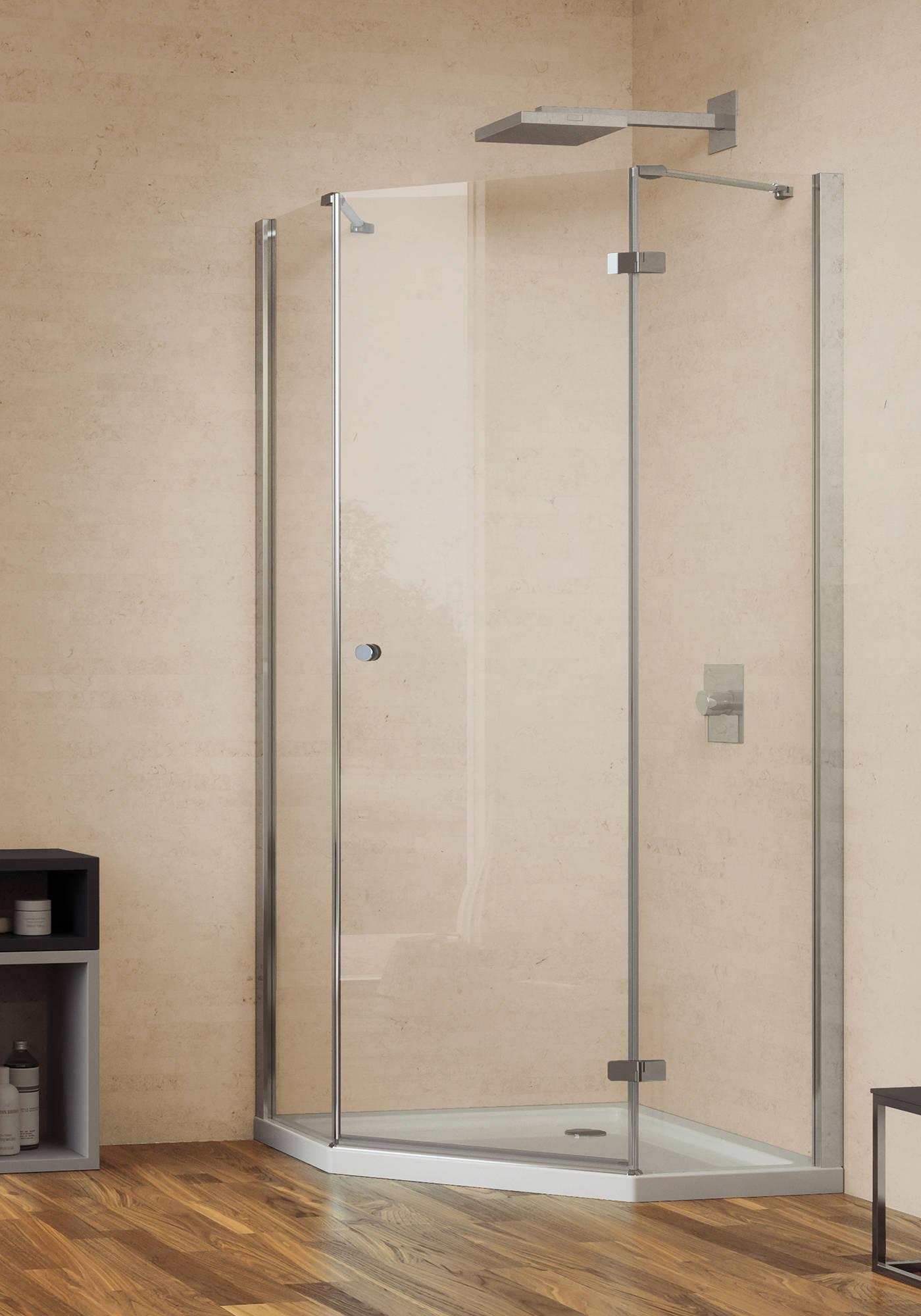 Sealskin Multi-S 4000 Douchecabine Vijfhoekig Semi-gesatineerd Glas 100x195 cm Zilver Hoogglans