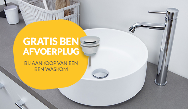 Gratis Ben afvoerplug bij een Ben waskom